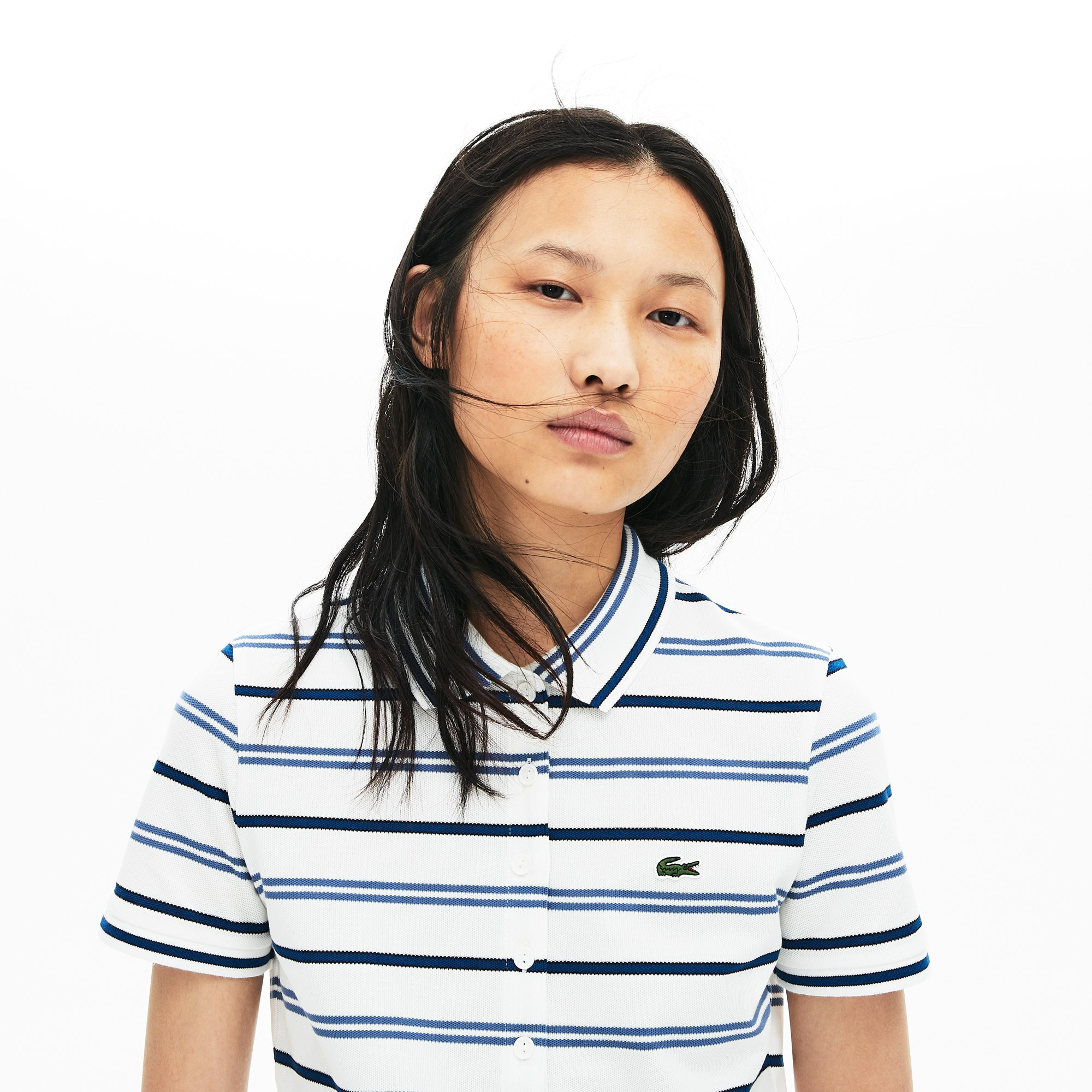 라코스테 Lacoste Womens Slim Fit Striped Stretch Pique Polo Shirt,White / Blue / Navy Blue • 14V