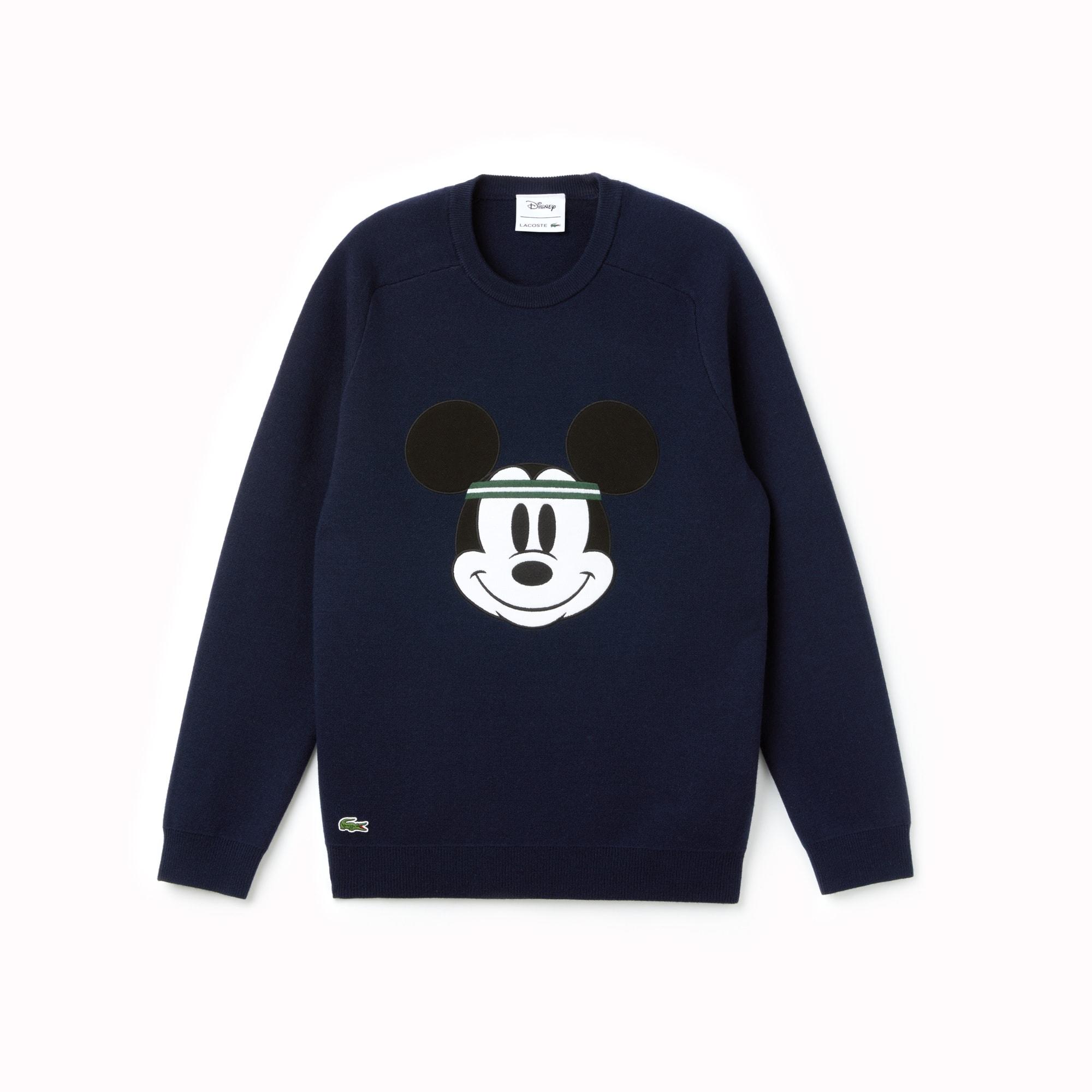 Men's Crew Neck Disney Mickey Embroidery Interlock Sweater by Lacoste