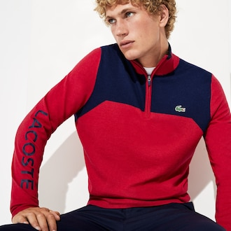 라코스테 스포츠 집업 스웨터 Lacoste Mens SPORT Zip-Up Technical Wool Sweater,Red / Navy Blue / Navy Blue