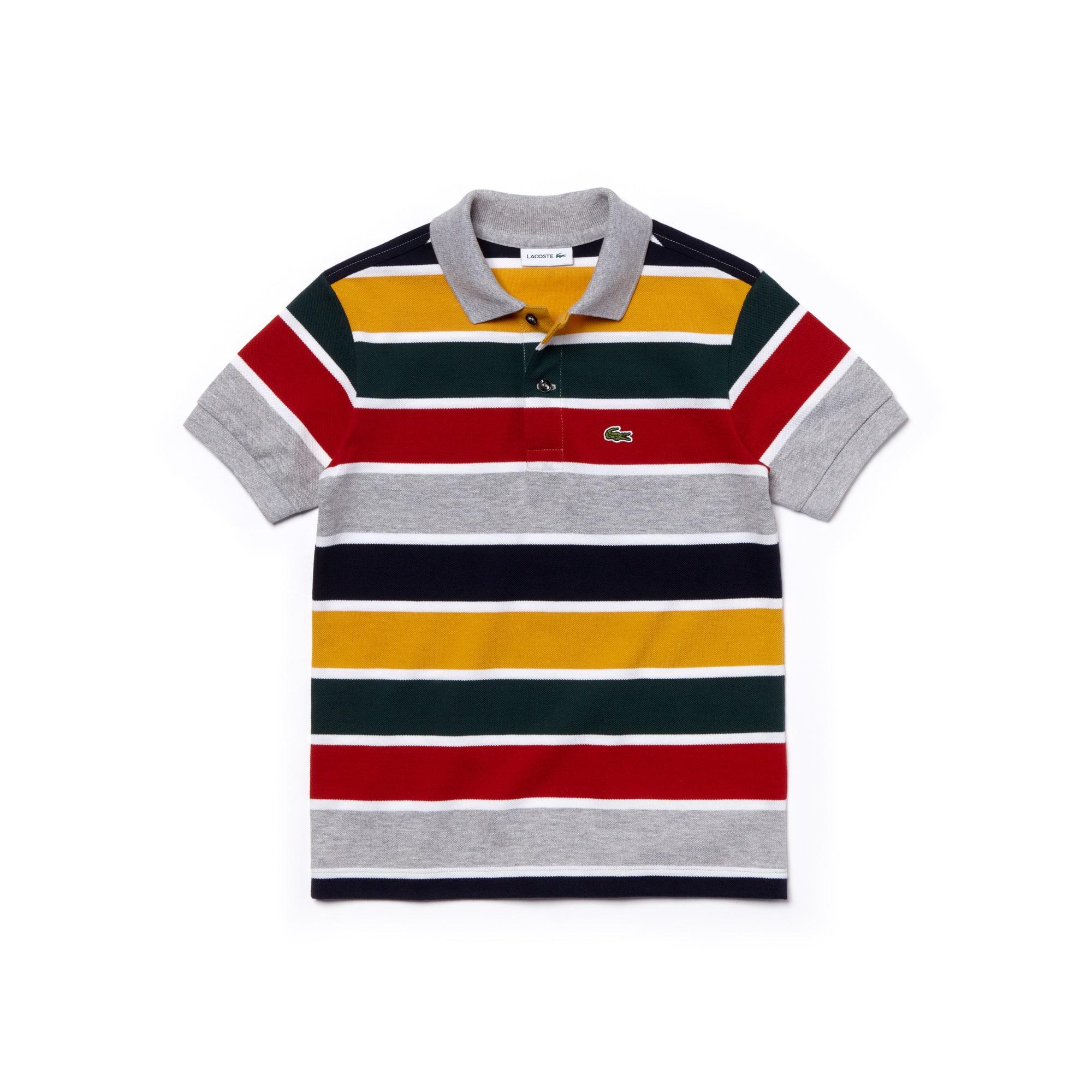 Boys' Striped Cotton Piqué Polo