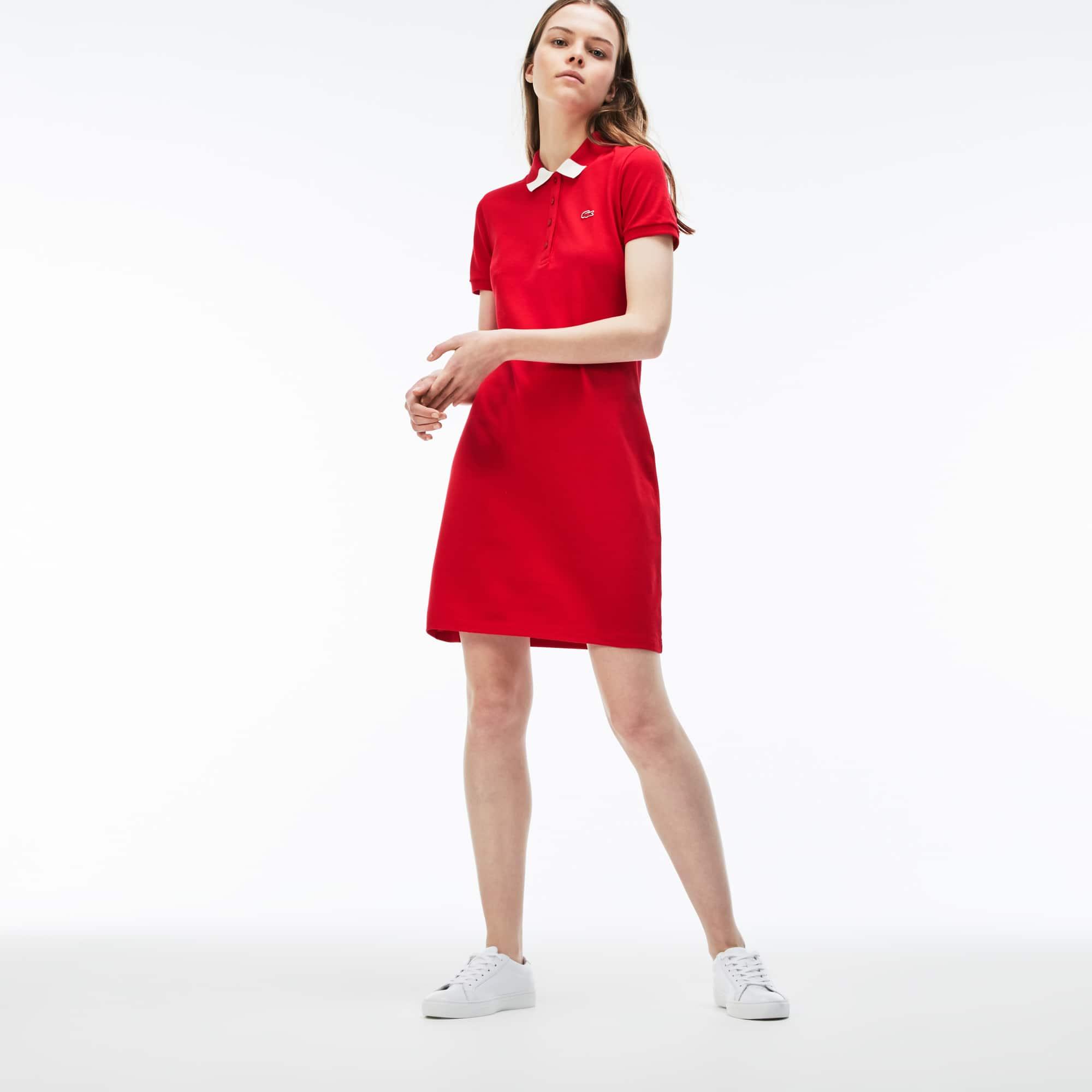 Women's Slim Fit Bicolor Polo Collar Stretch Mini Piqué Dress