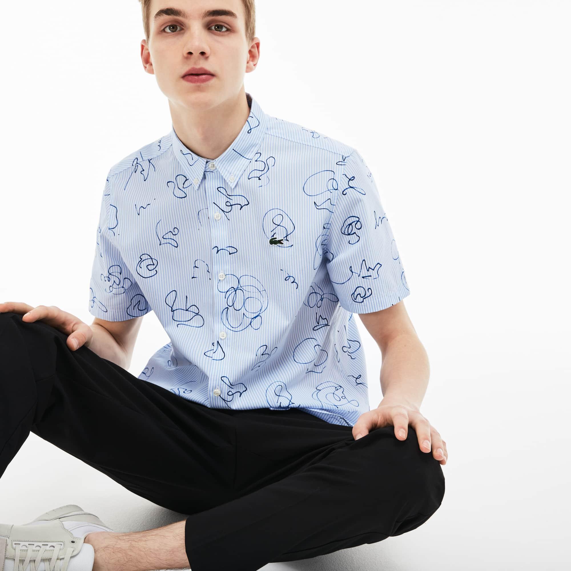 Men's LIVE Striped Print Poplin Shirt