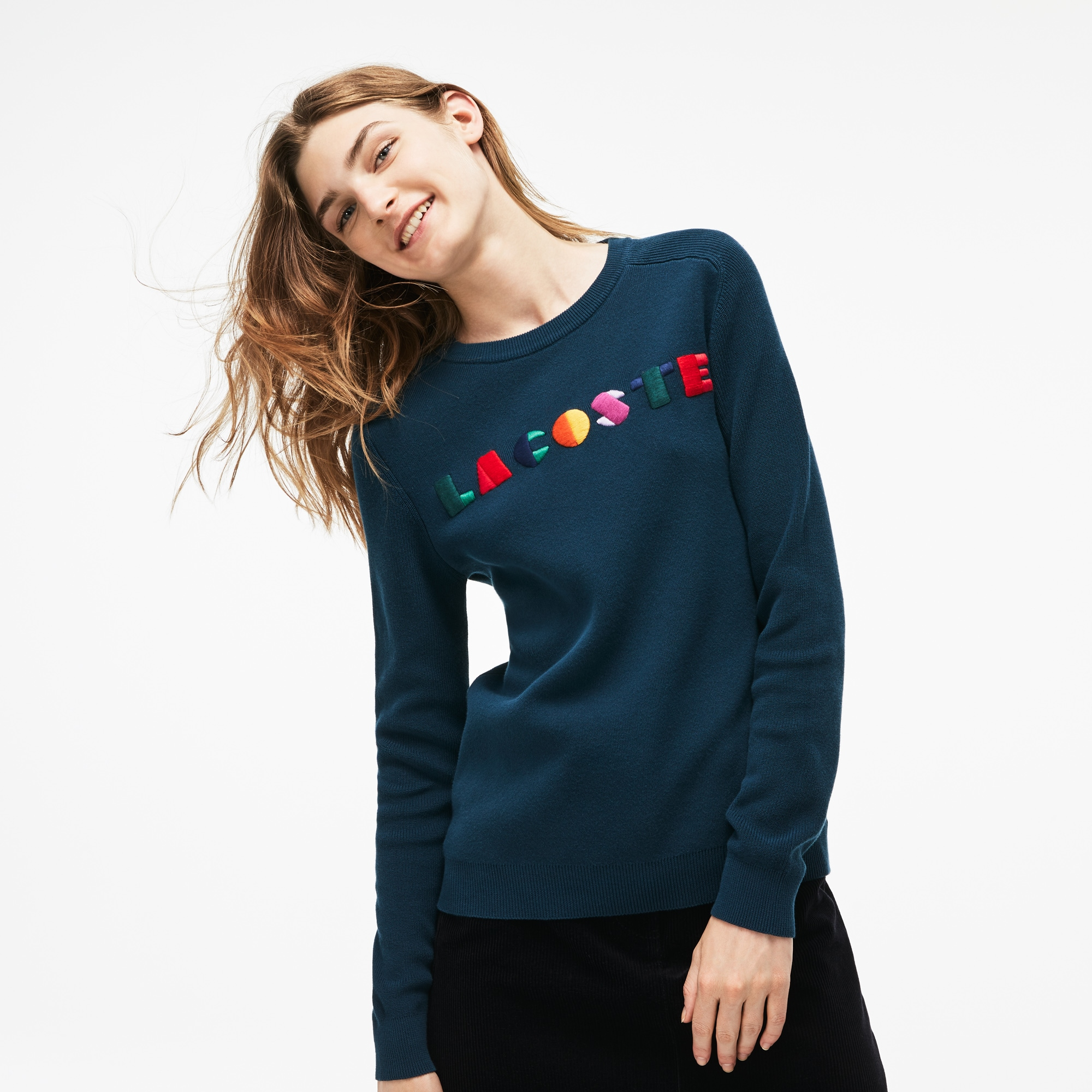 Women's Crew Neck Multicolor Embroidery Interlock Sweater