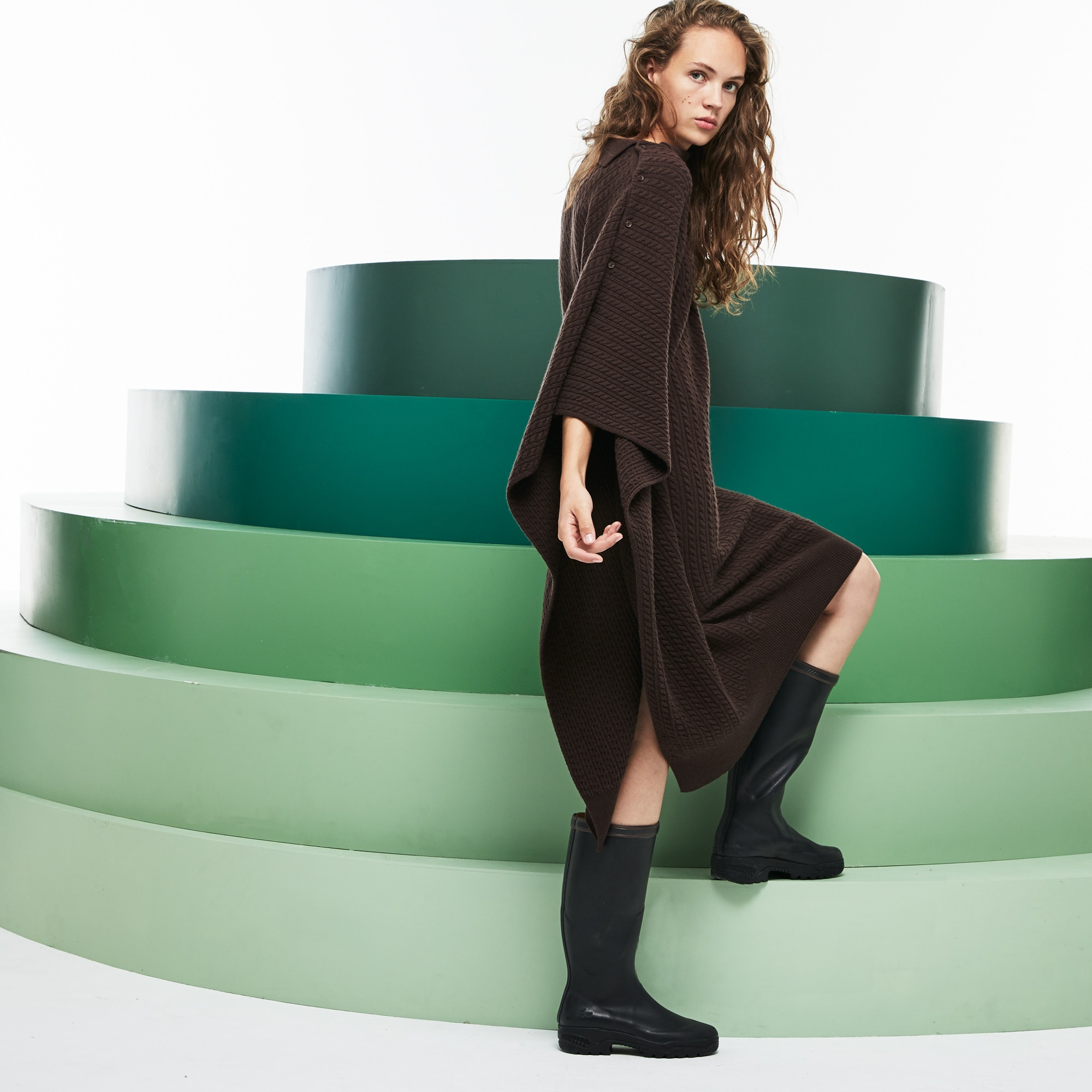 Women's Fashion Show Asymmetrical Sleeves Wool And Cashmere Dress
