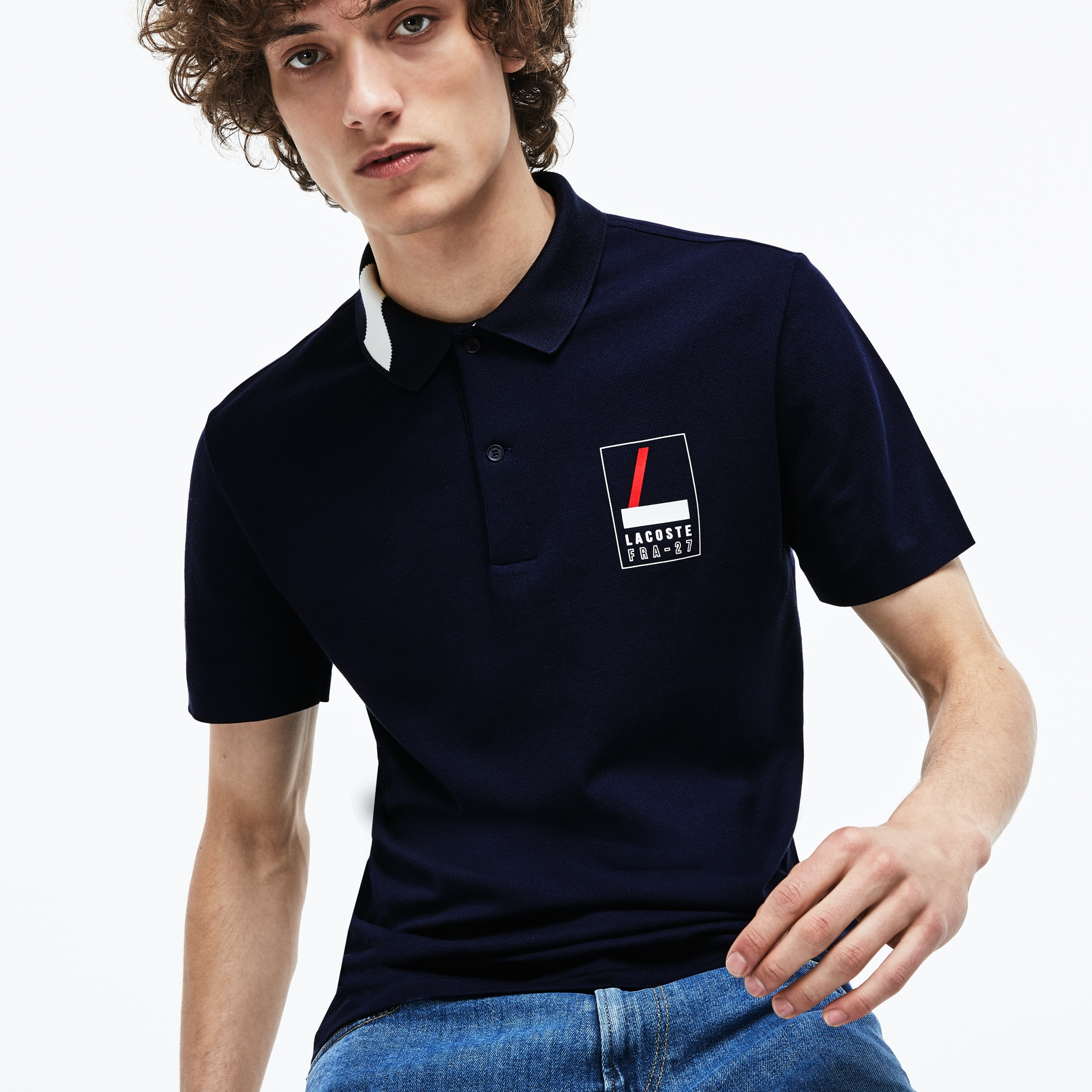 Men's Slim Fit Lettering Stretch Mini Piqué Polo