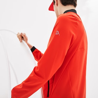 라코스테 Lacoste Mens SPORT Novak Djokovic Collection Ultra Light Technical Jacket,Red / Black / White - 6HH (Selected colour)