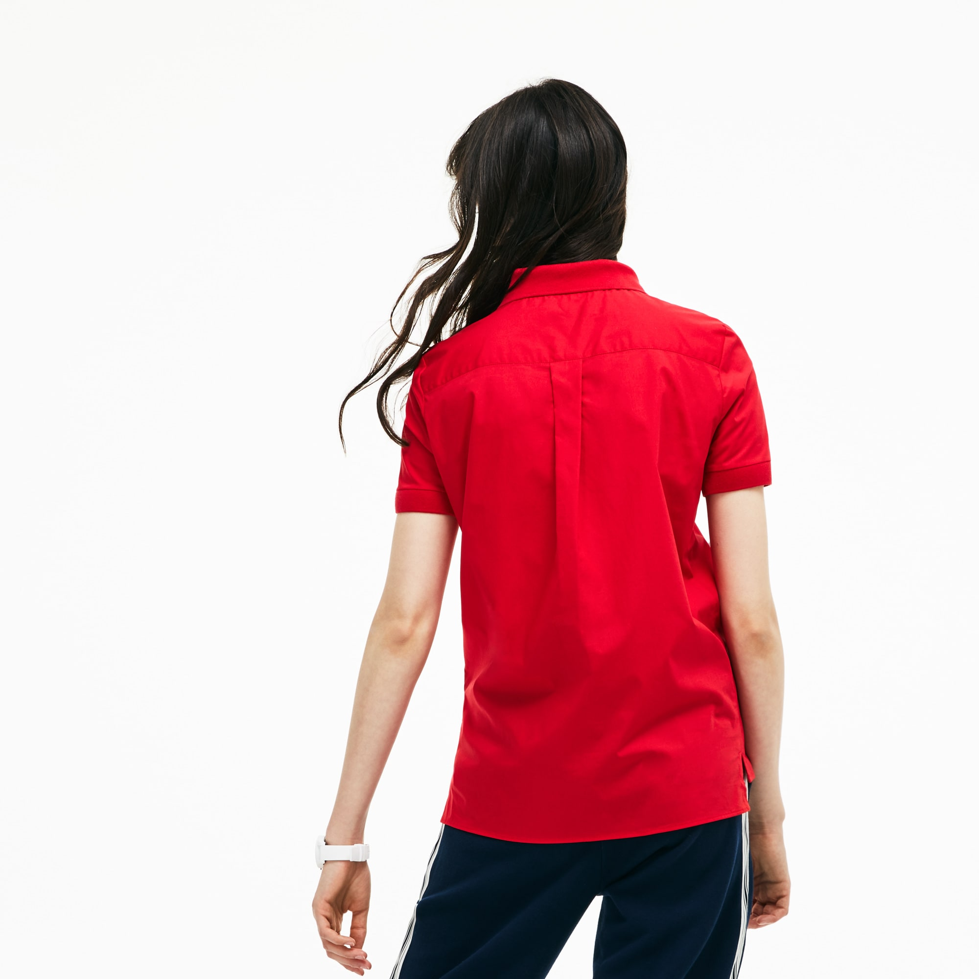 Lacoste Womens Regular Fit Stretch Poplin Polo Shirt In Red Modesens