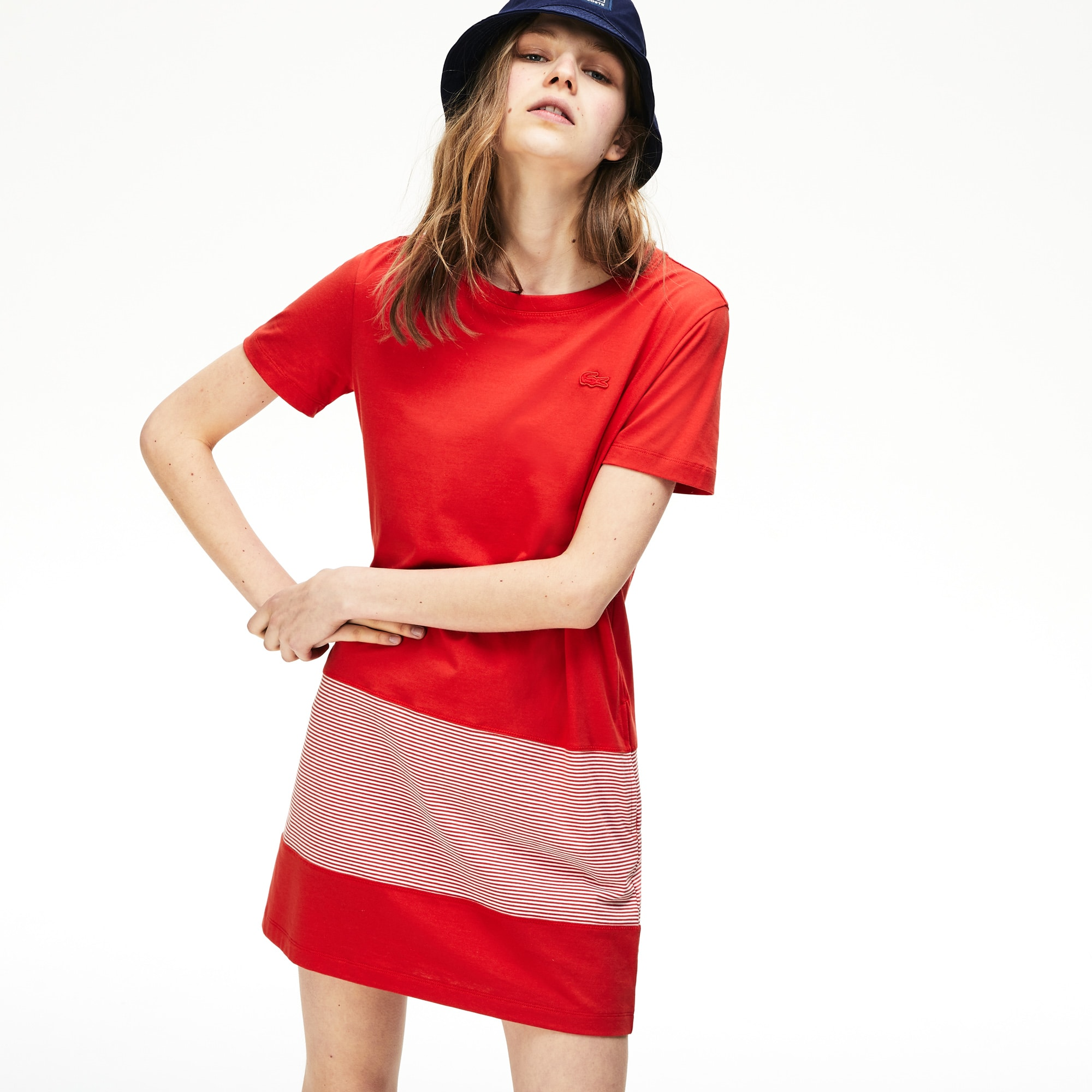 Women's Crew Neck Cotton T-shirt Dress