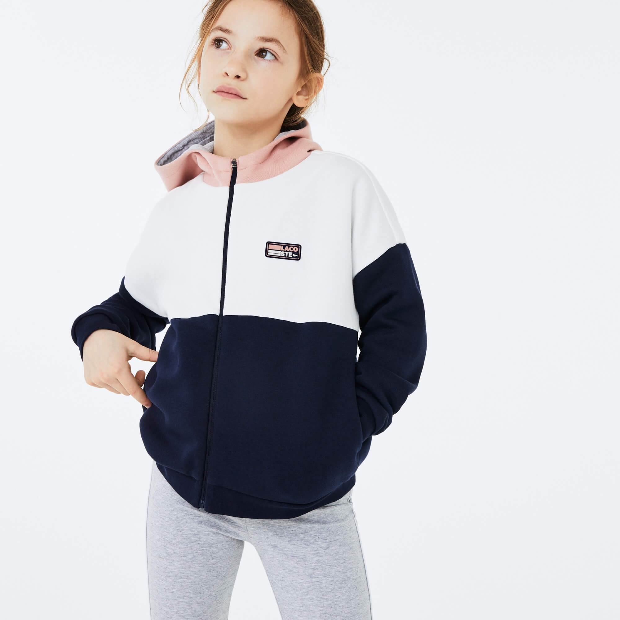 라코스테 걸즈 컬러블록 집업 후드티 Lacoste Girls SPORT Colorblock Fleece Sweatshirt