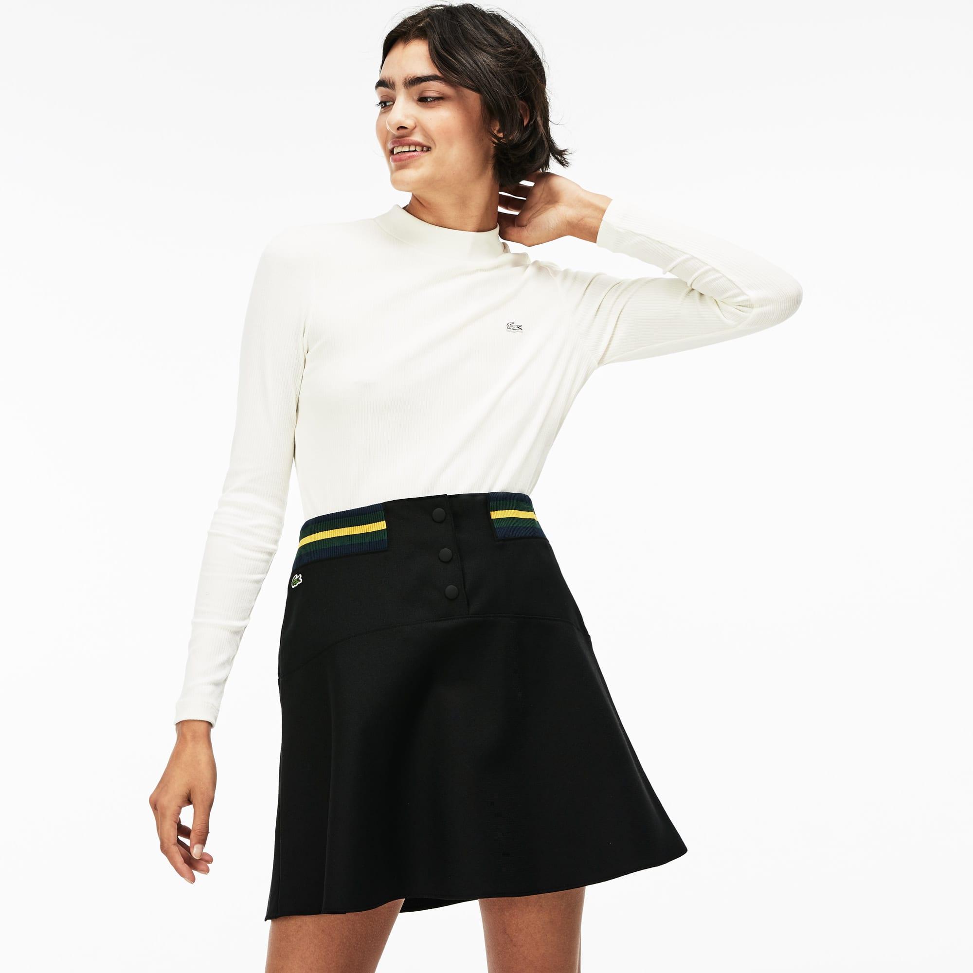Women's LIVE Contrast Waistband Twill Skater Skirt