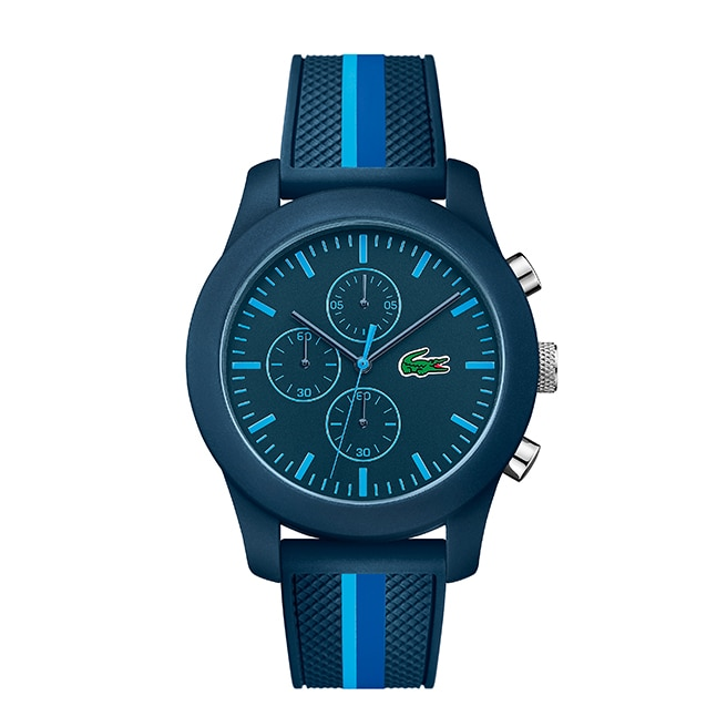 Men's Lacoste 12.12 Chrono Blue Stripe Silicon Strap