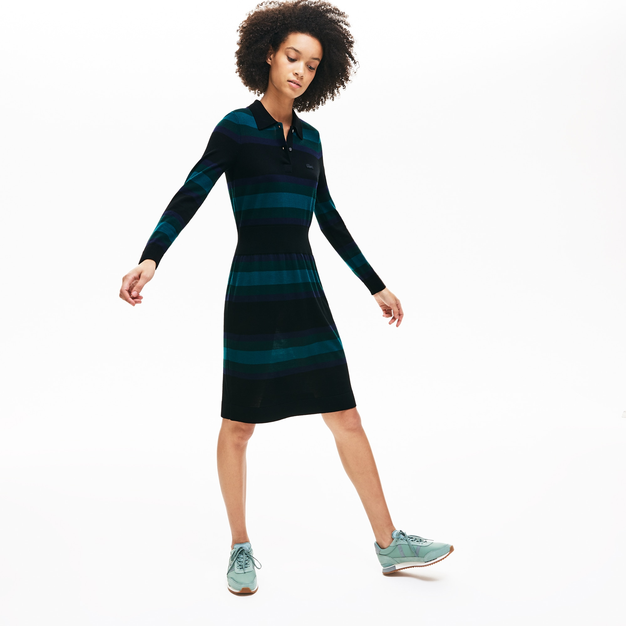 Lacoste Dresses Women's Fitted Striped Wool Polo Dress