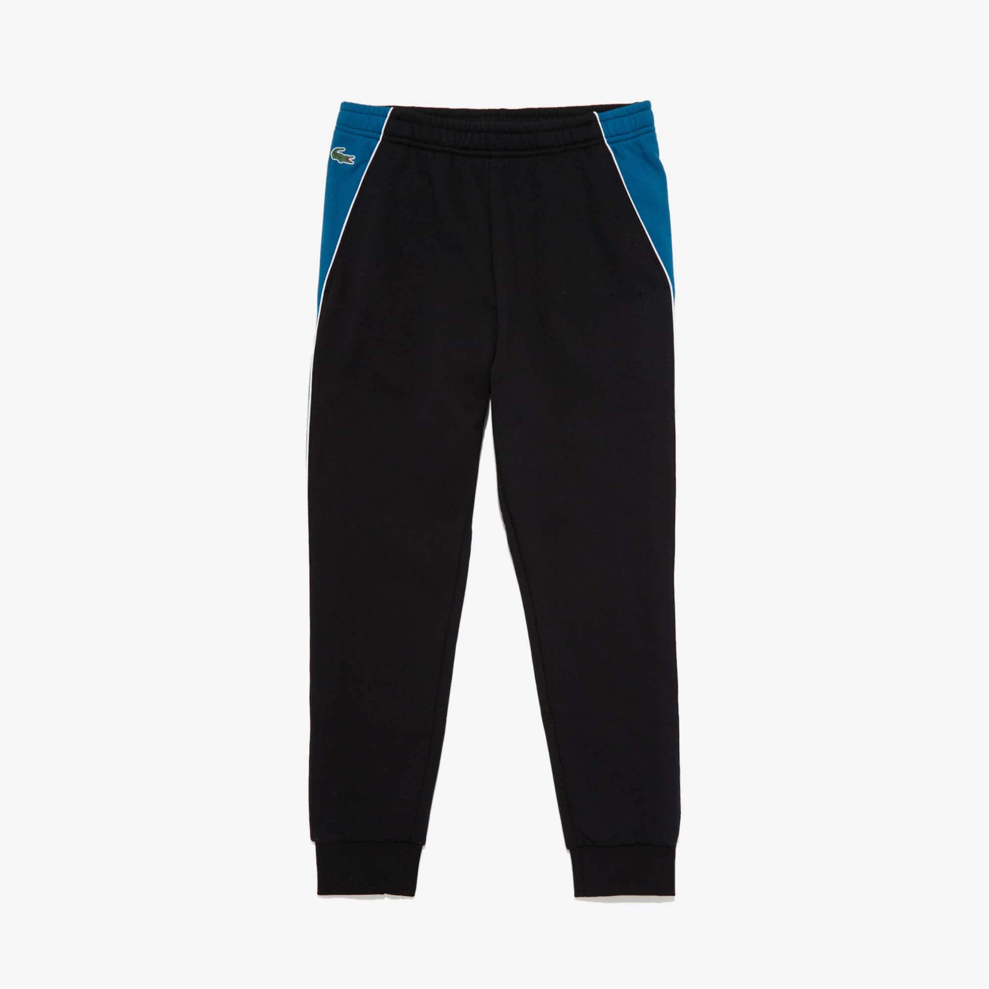 라코스테 Lacoste Mens SPORT Colorblock Bands Fleece Sweatpants,Black / Blue / White - 3SP