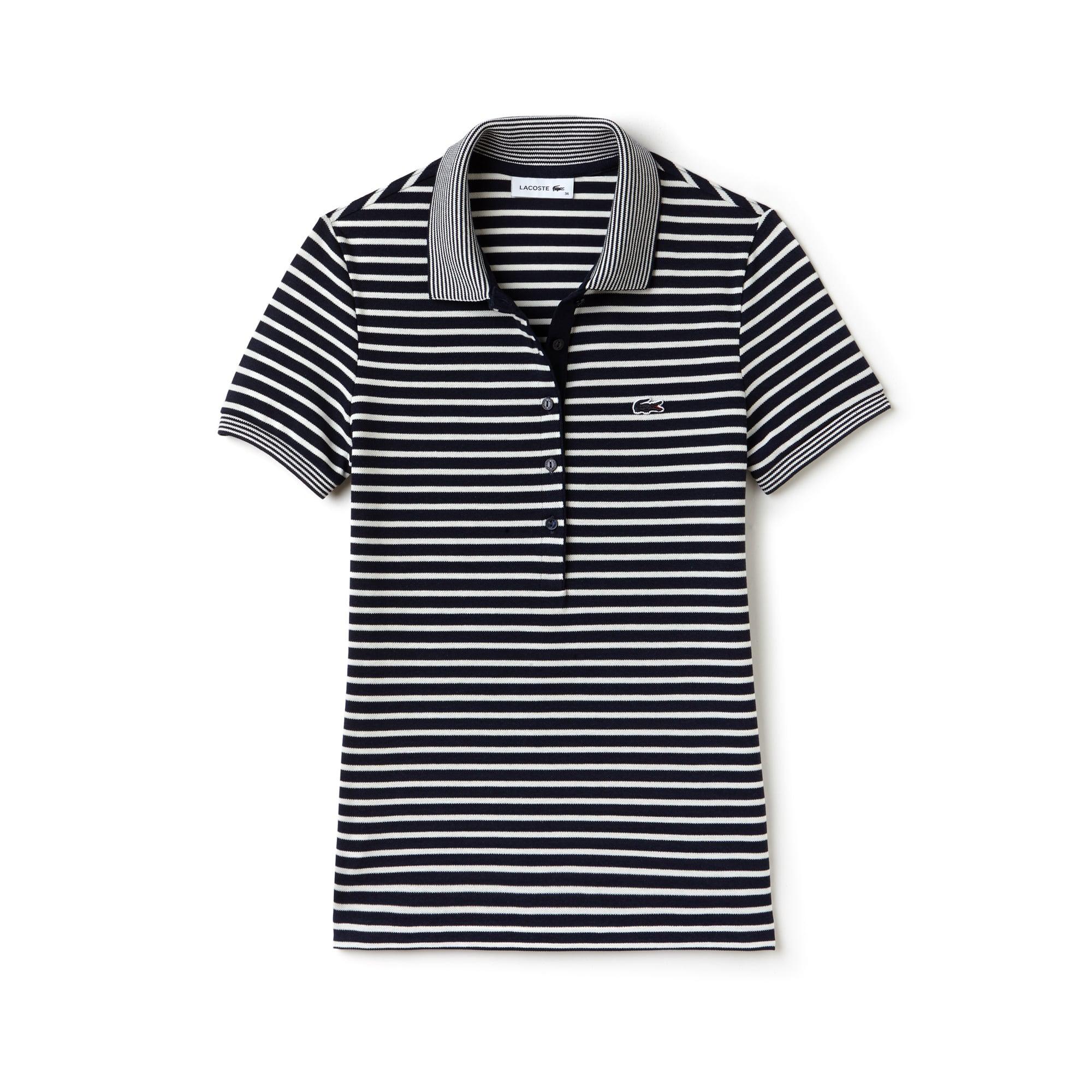 Women's  Slim Fit Striped Mini Piqué Polo