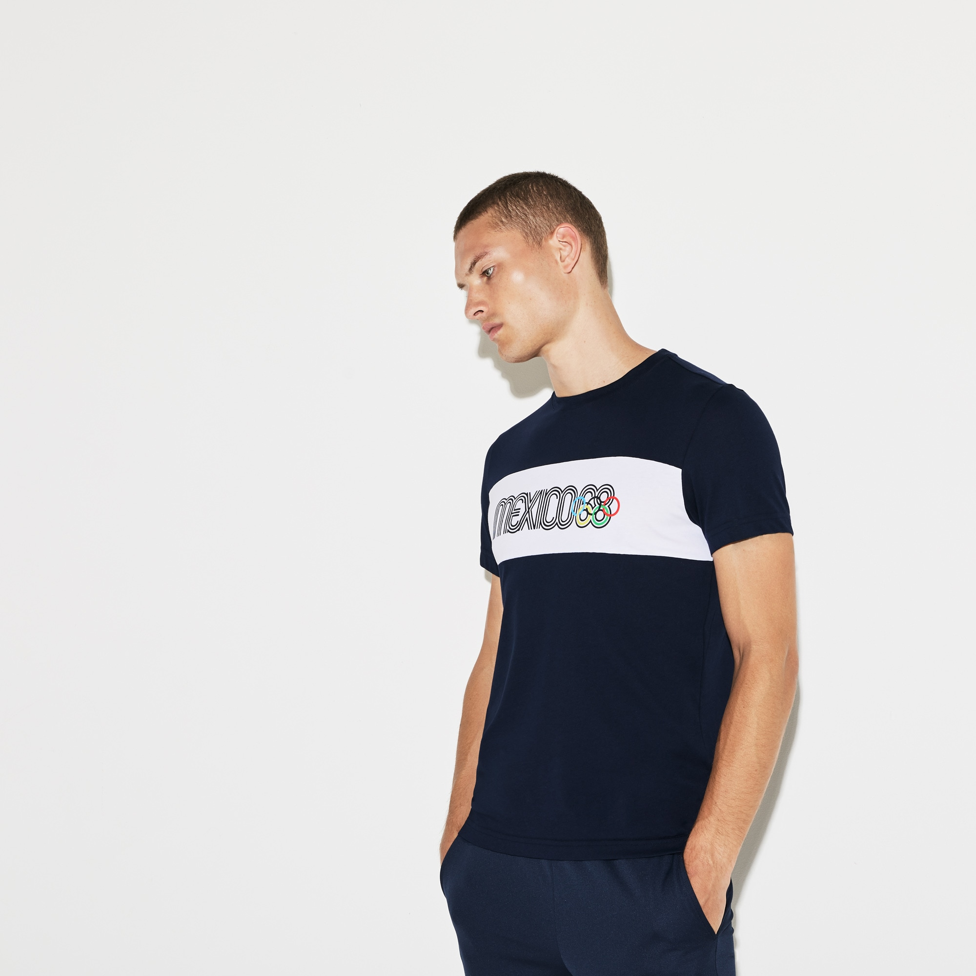 5b47da651dd3d T-shirt col rond Olympic Heritage Collection by Lacoste en coton ...