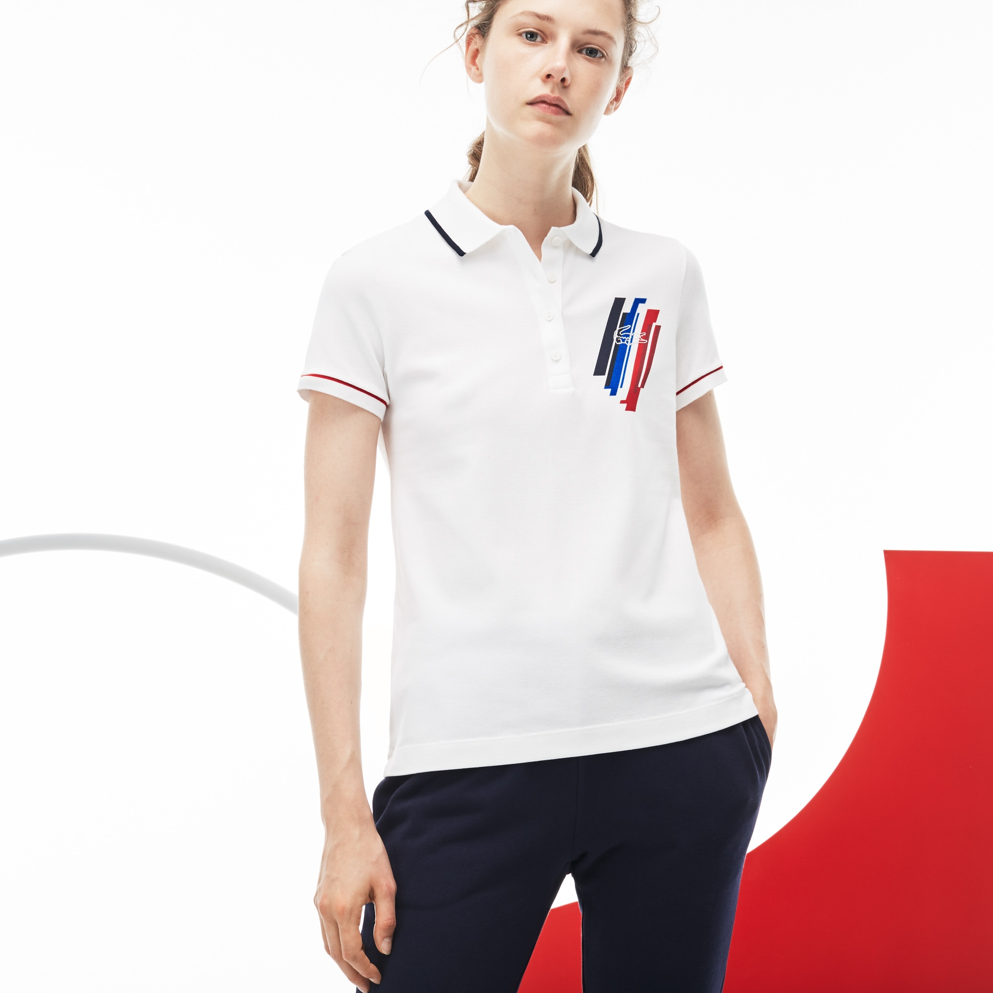 Women's Tricolor Collection Stretch Mini Piqué Polo