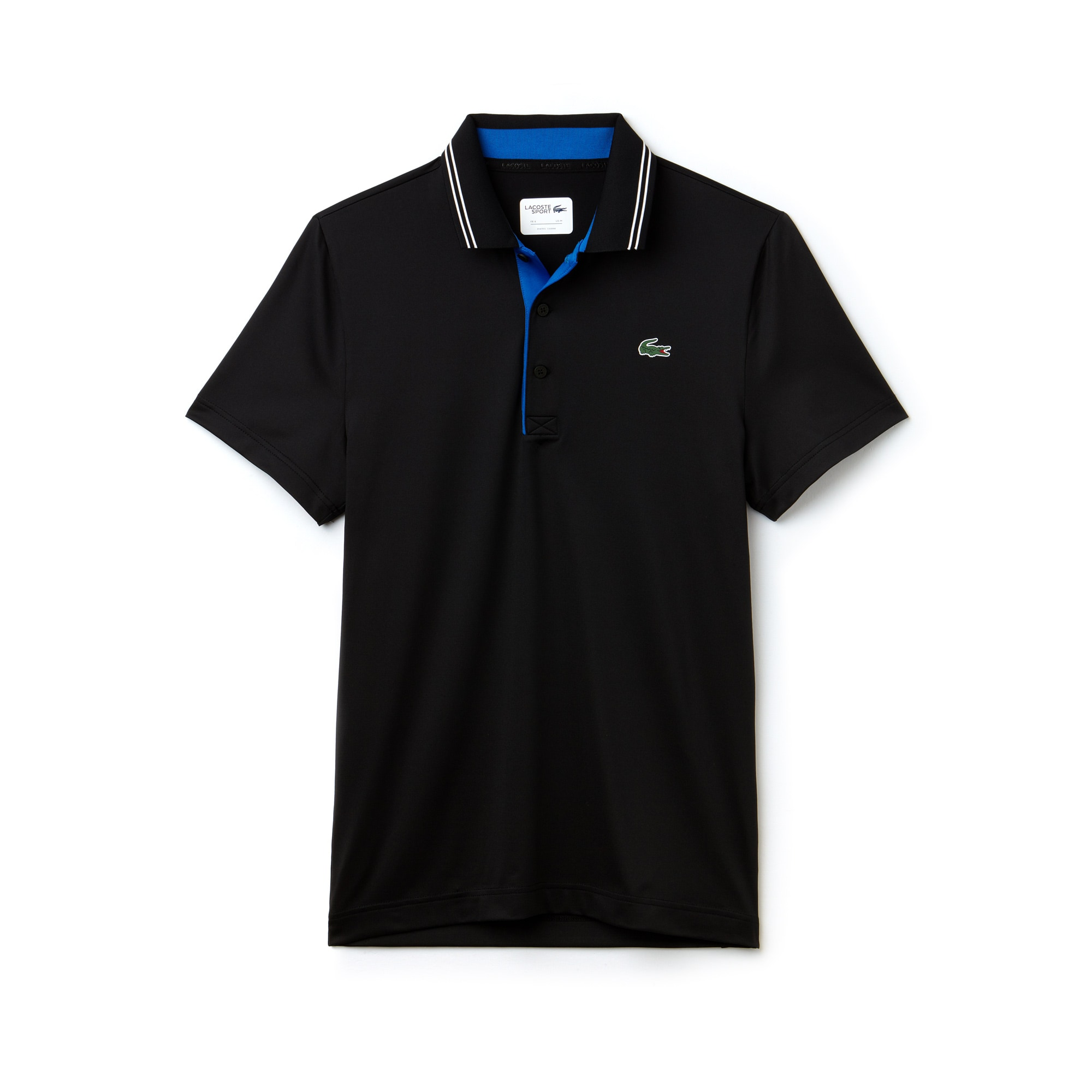 라코스테 스포츠 반팔 카라티 Lacoste Mens SPORT Lettering Stretch Technical Jersey Golf Polo Shirt,black/royal blue-white