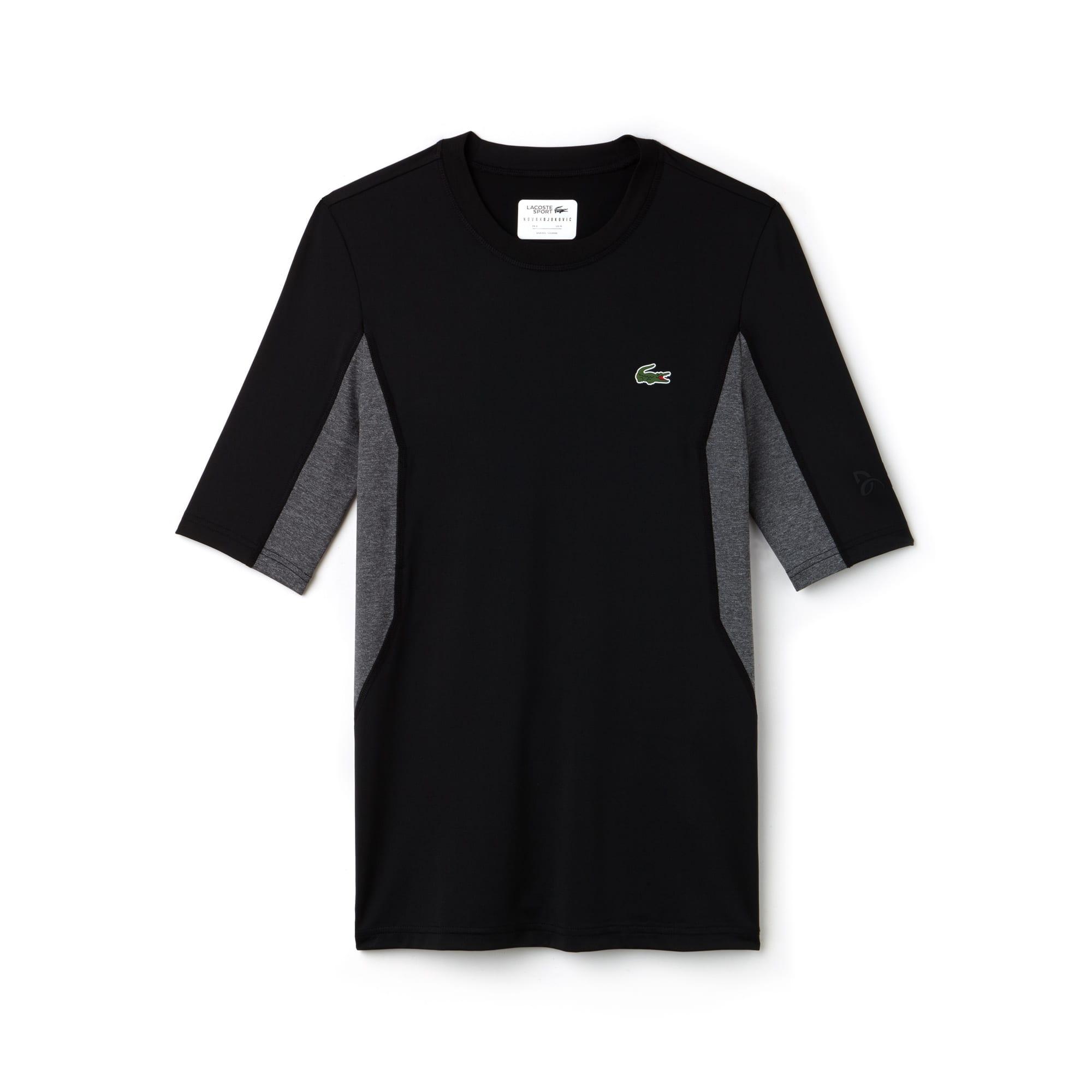 라코스테 스포츠 반팔 티셔츠 Lacoste Mens SPORT Crew Neck Stretch Technical Jersey T-shirt - x Novak Djokovic Off Court Premium Edition,BLACK/ROCHE CHINE