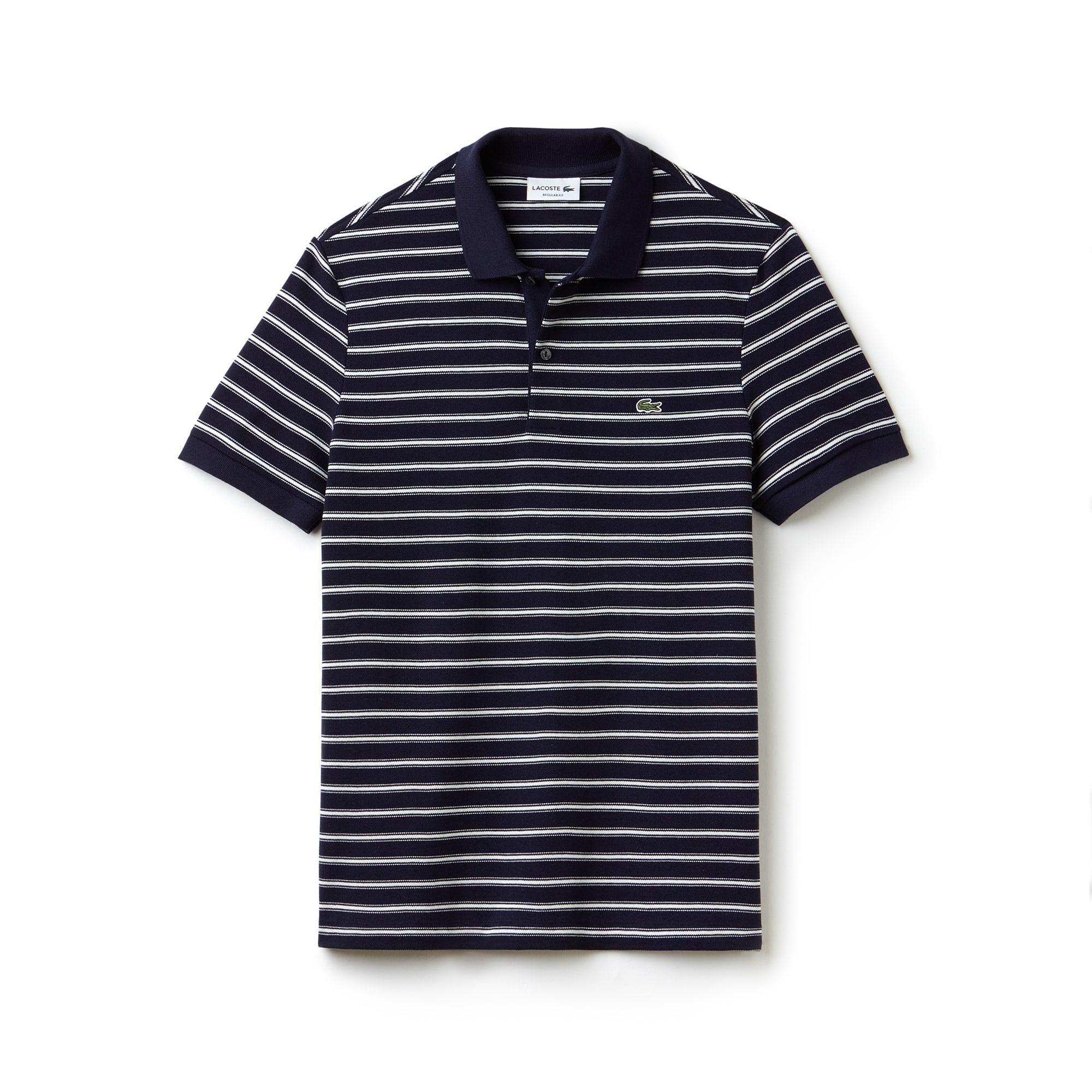 Men's  Regular Fit Striped Cotton Petit Piqué Polo