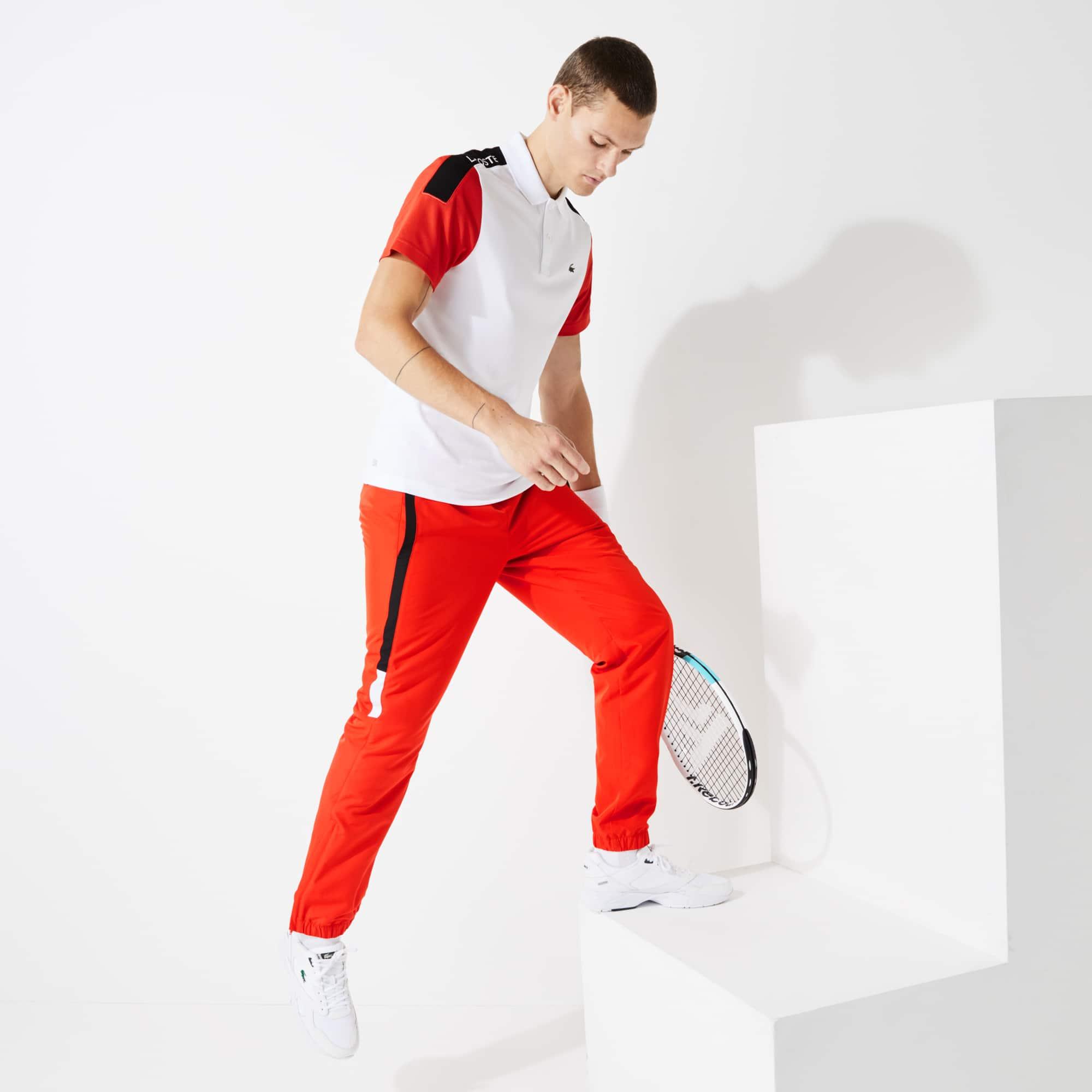 라코스테 Lacoste Mens SPORT Lightweight Color-Block Track Pants,Red / Black / White / Black - PUM (Selected colour