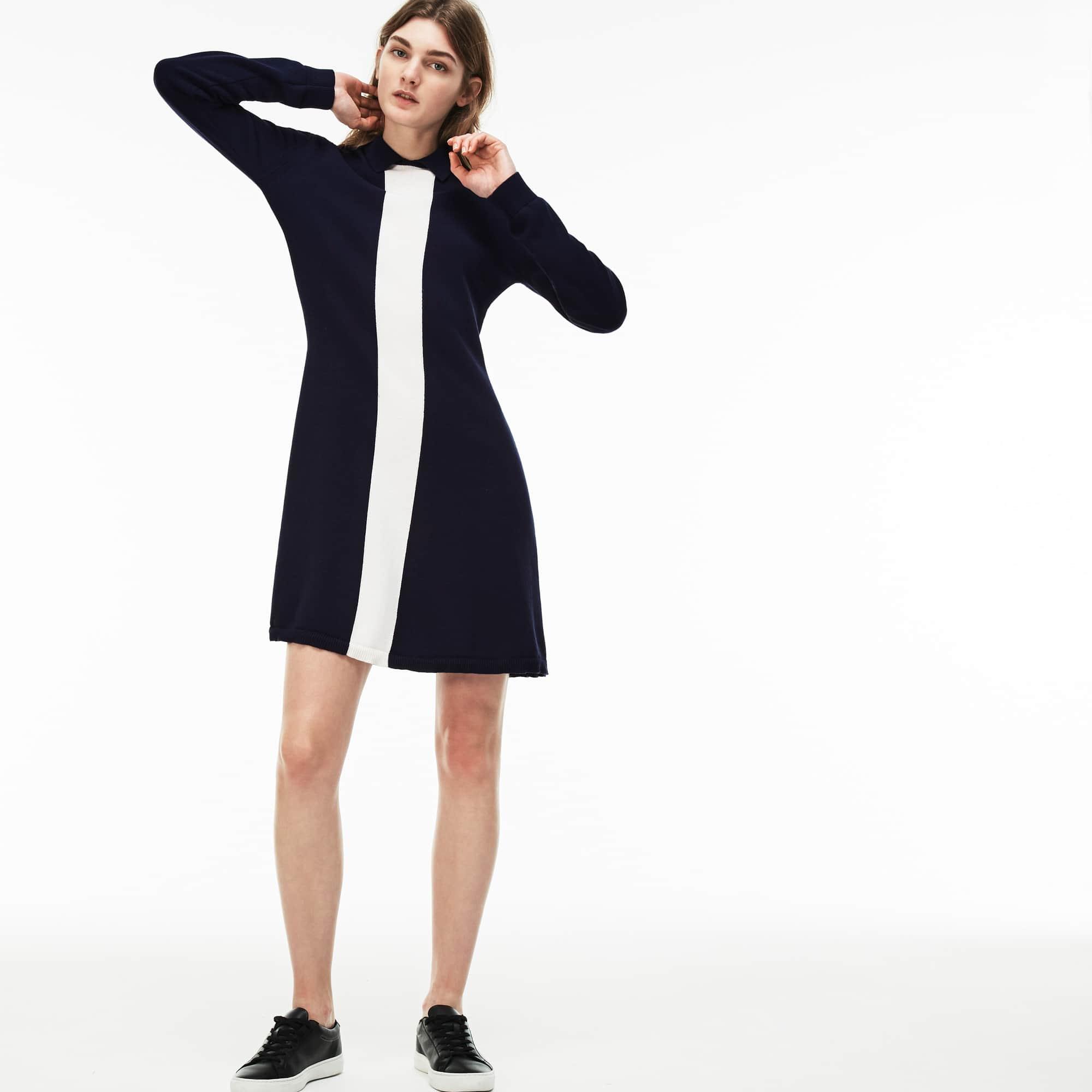 Women's Polo Collar Colorblock Jersey Flared Sweatshirt Dress