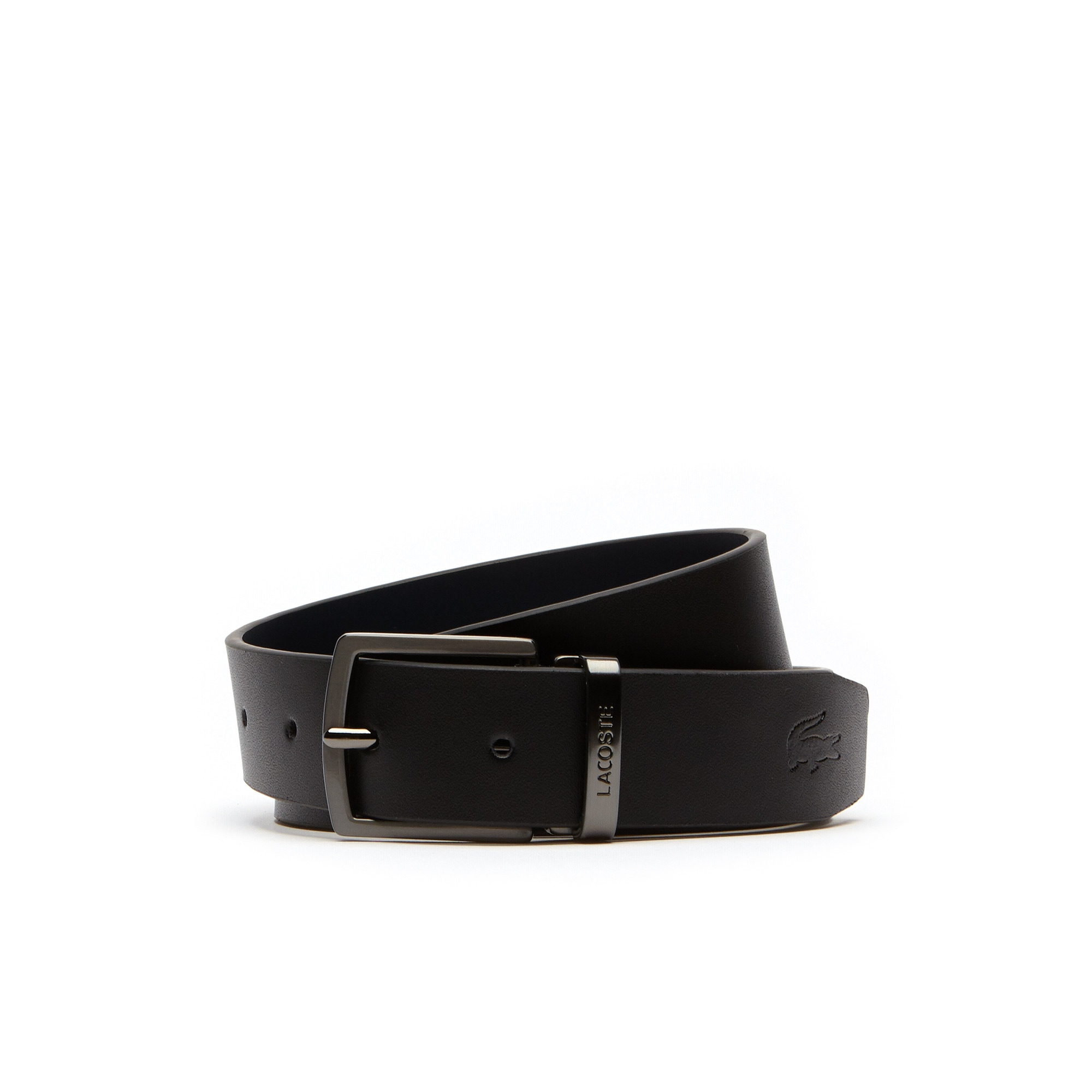 라코스테 벨트 Lacoste Mens Reversible Leather Belt and Two Buckles Gift Set,black/navy