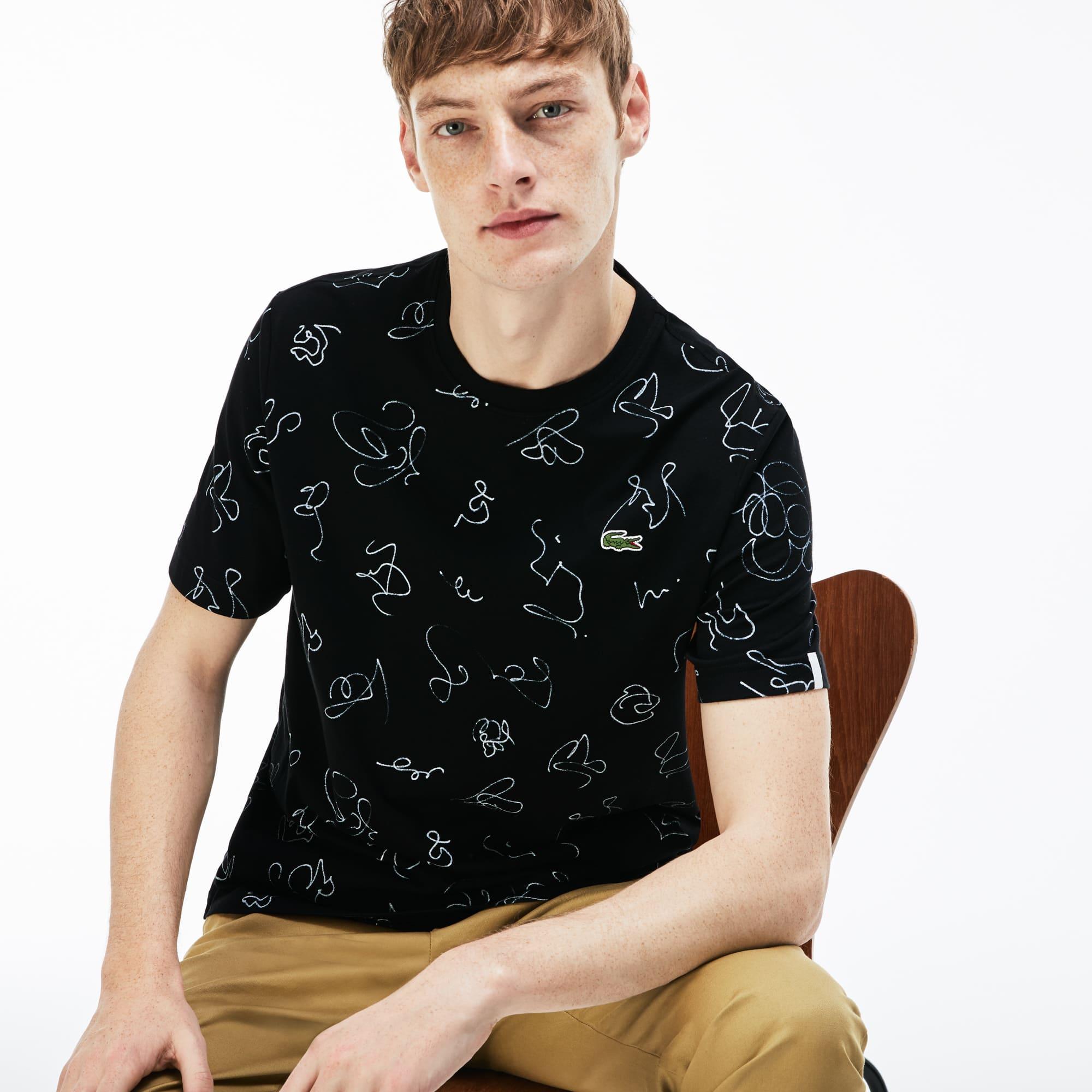 Men's LIVE Crew Neck Doodle Print Cotton Jersey T-shirt