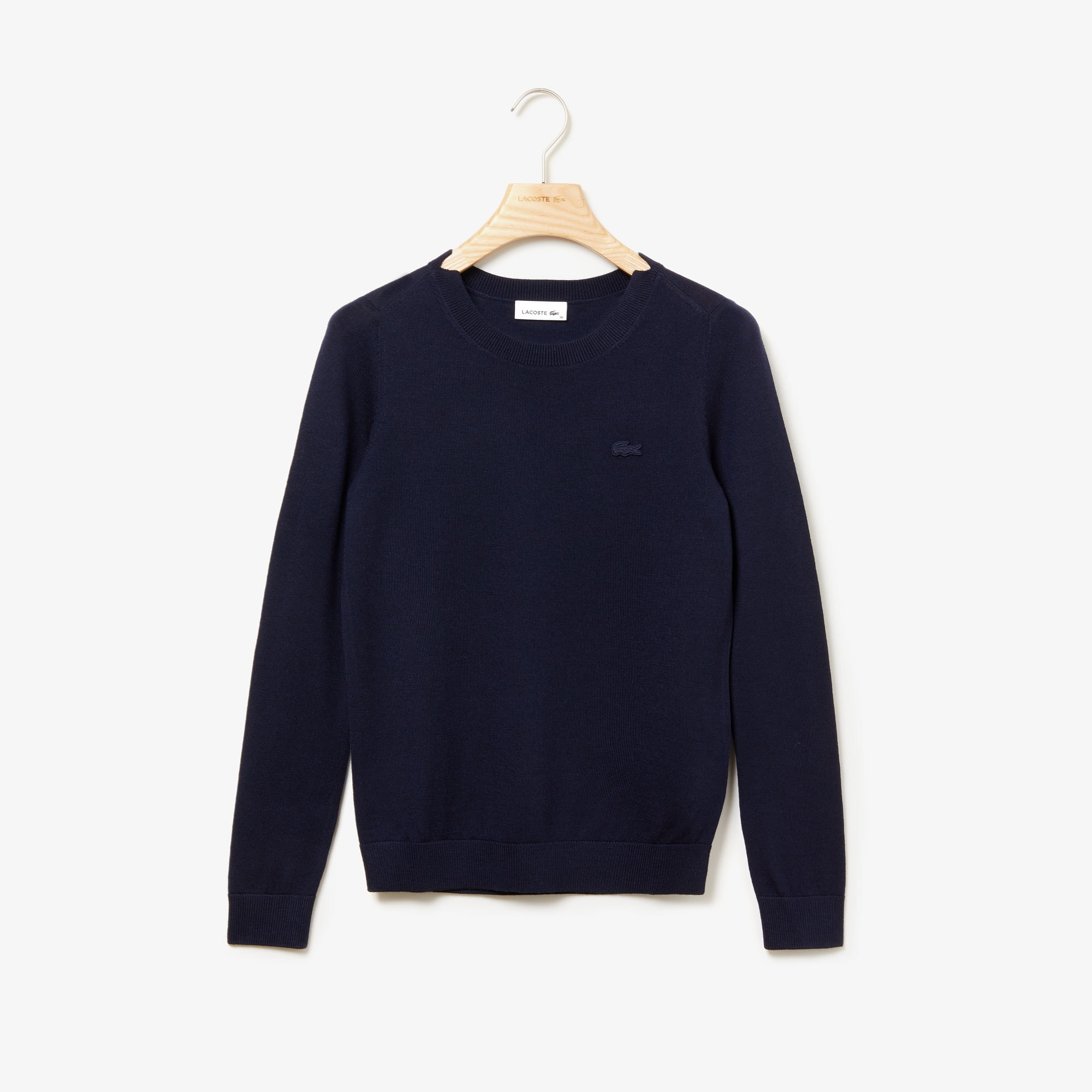 Women's Notched Crew Neck Wool Sweater