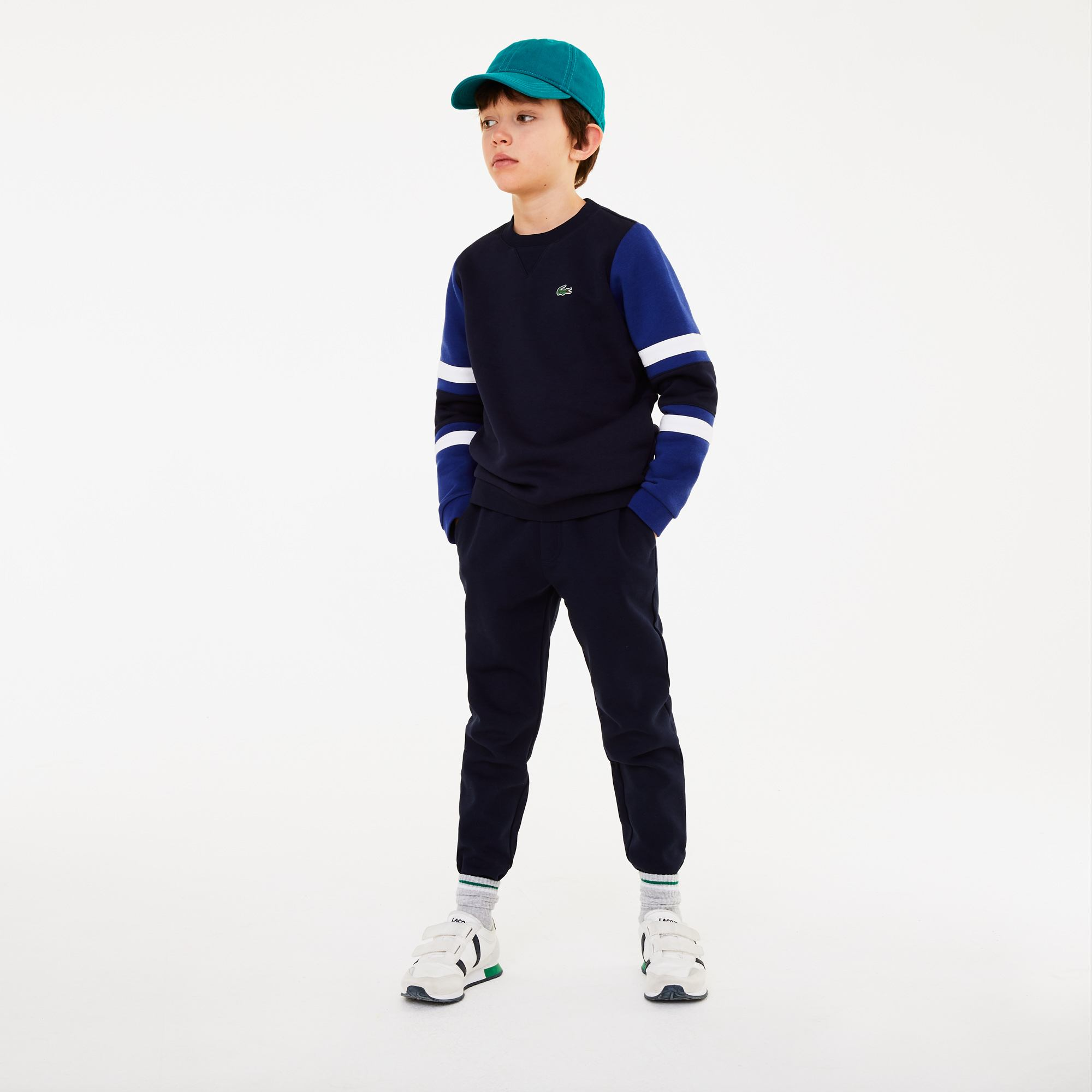 Boys' SPORT Striped-Sleeve Fleece Sweatshirt
