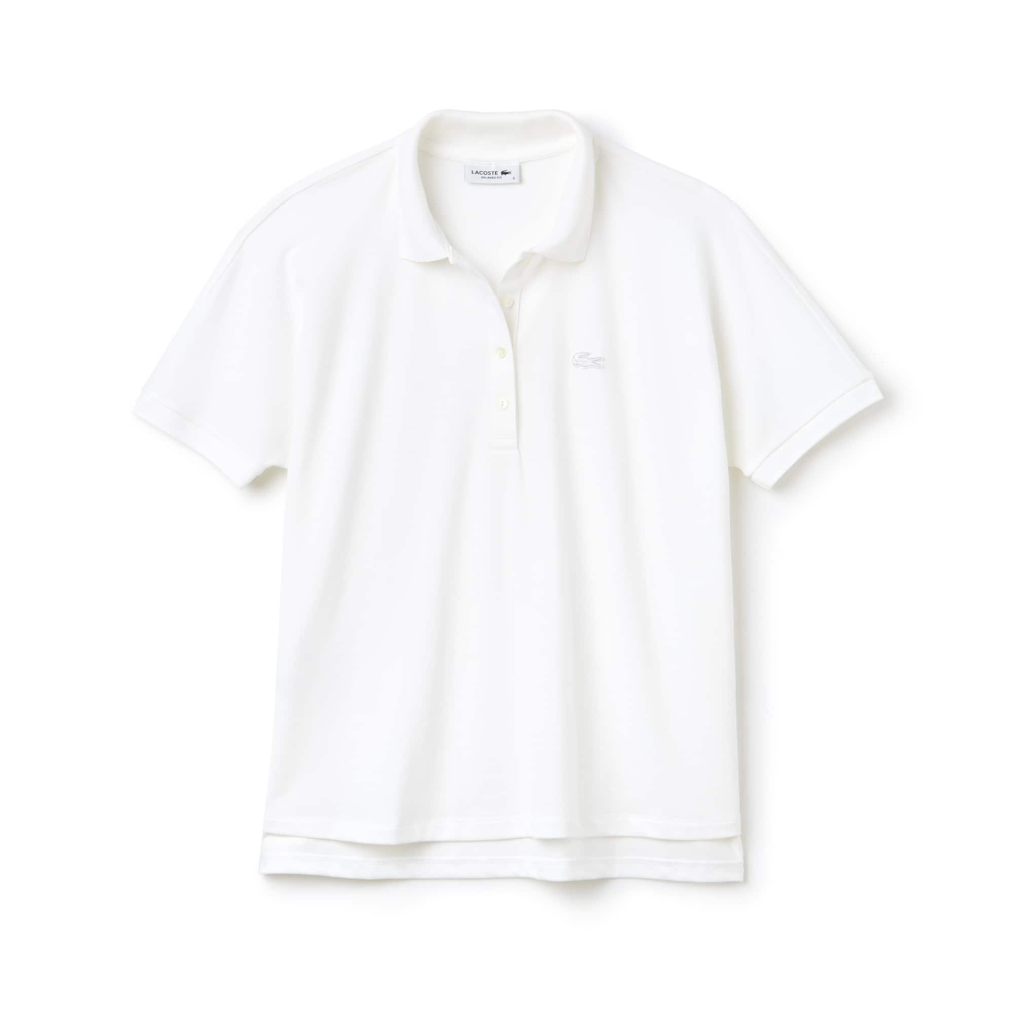 라코스테 반팔 카라티 Lacoste Womens Modern Fit Flowing Stretch Cotton Pique Polo,white