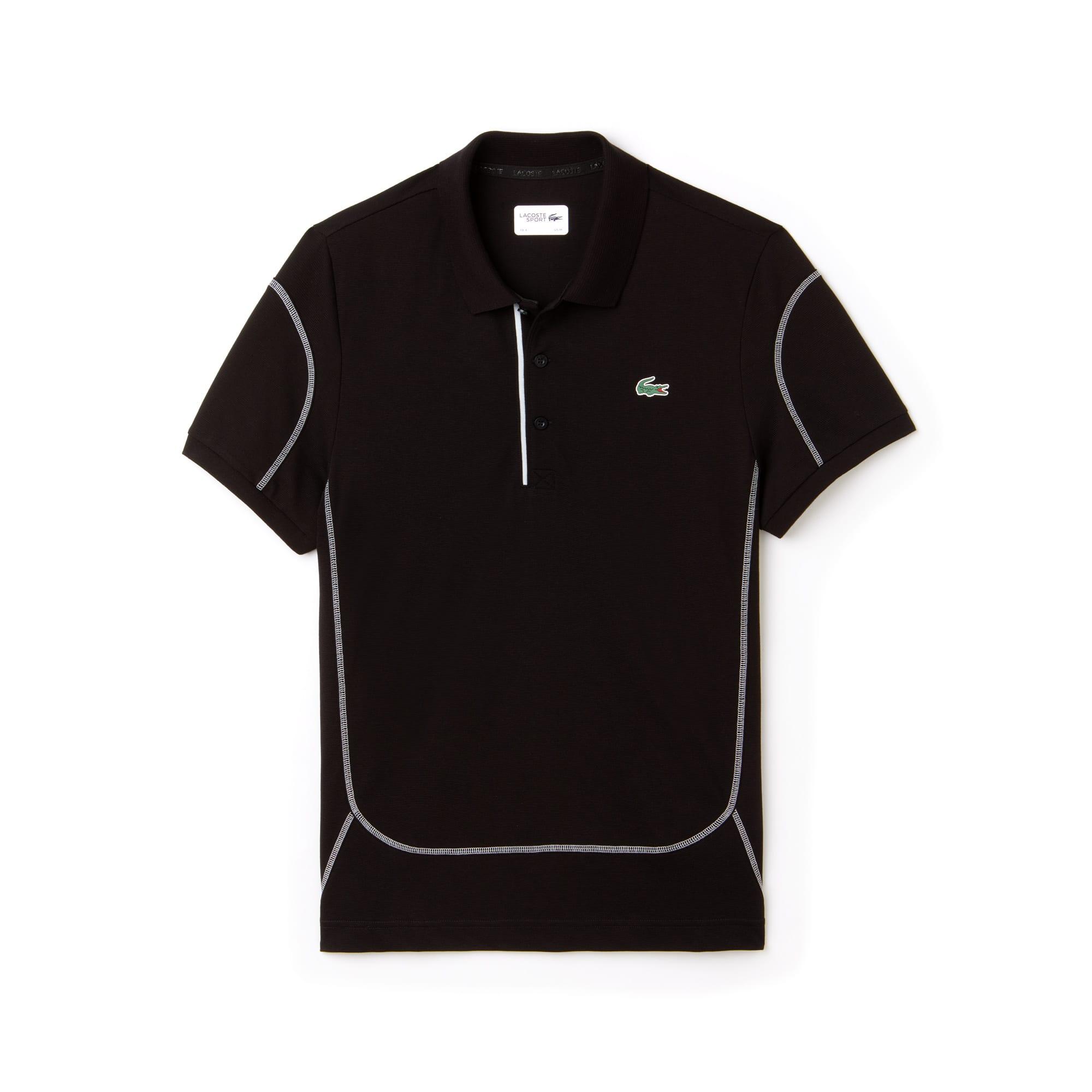 라코스테 Lacoste Mens SPORT Contrast Stitching Light Cotton Tennis Polo,black/armour