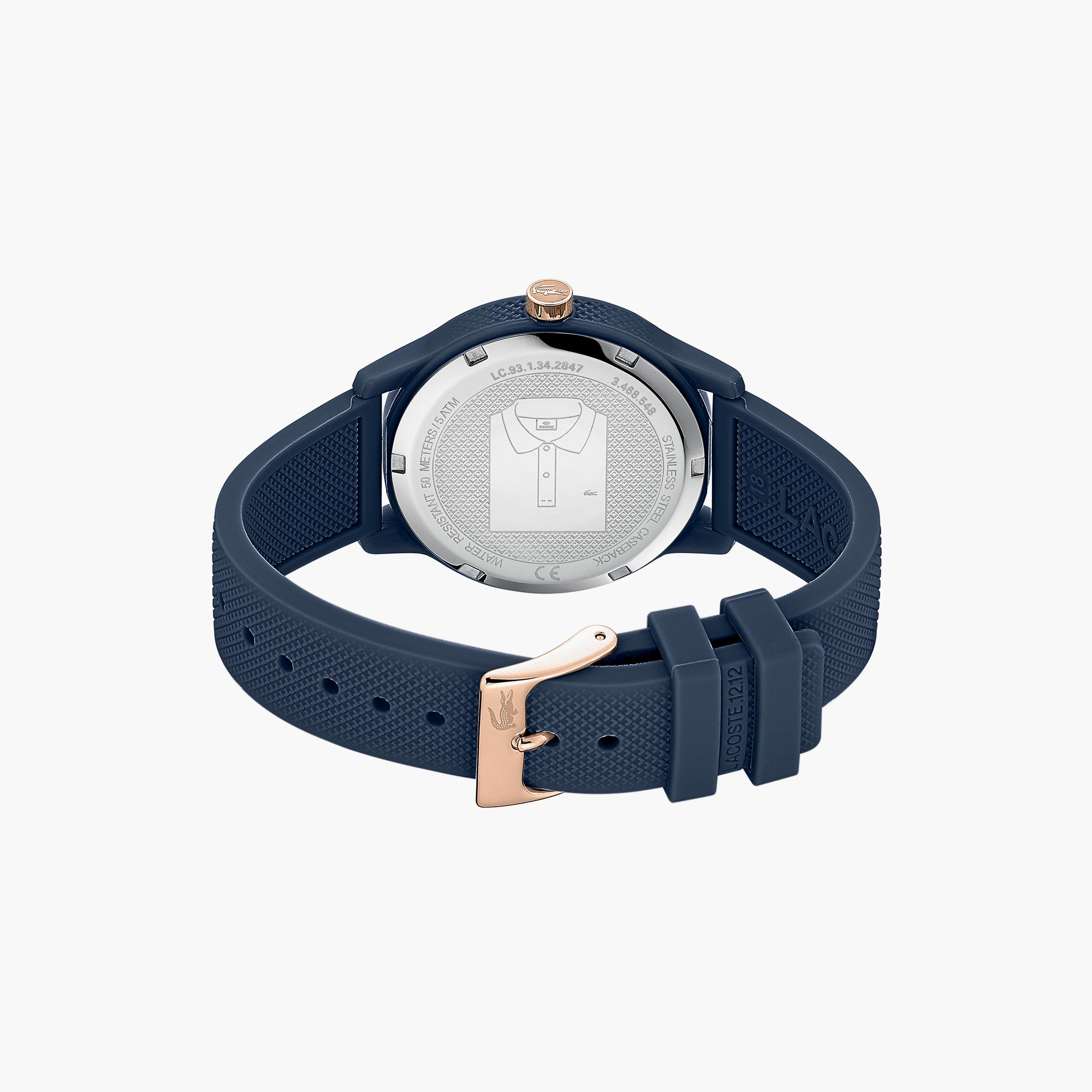 Gents Lacoste.12.12 Watch with Black Silicone Petit Piqué Pattern Strap