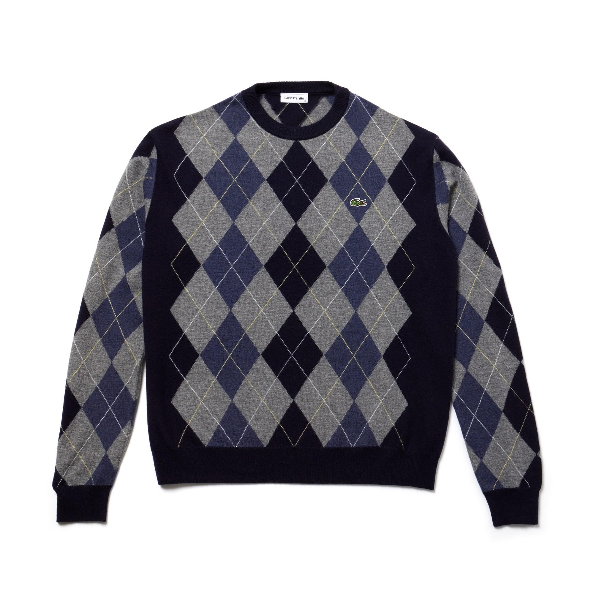 Unisex Fashion Show Argyle Wool Jacquard Sweater