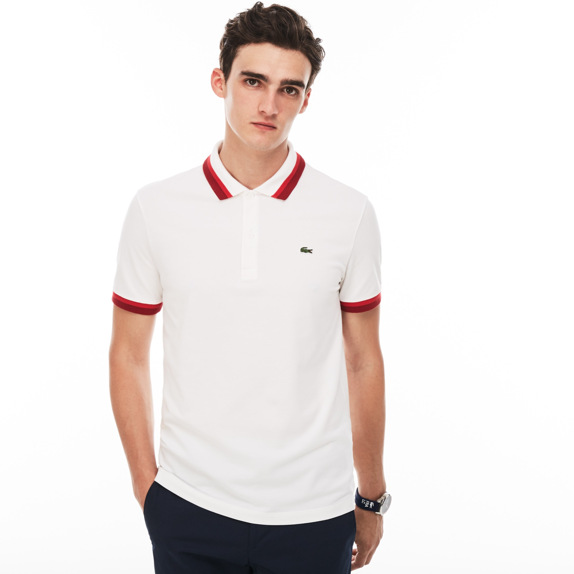 Men's Lacoste Slim Fit Contrast Accents Stretch Pima Piqué Polo