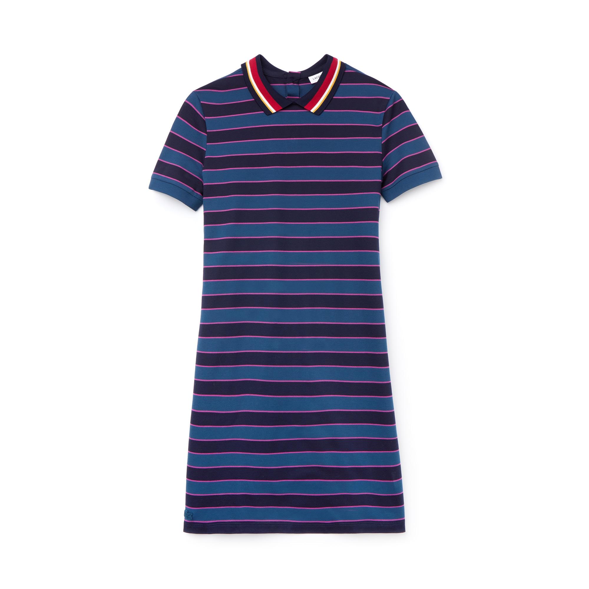 Women's Contrast Bands Striped Piqué Polo Dress