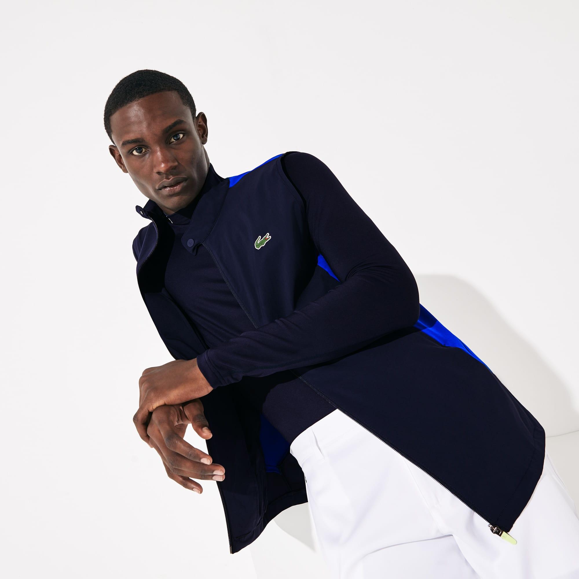 라코스테 Lacoste Mens SPORT Stretch Zip Golf Rain Vest,Navy Blue / Blue / Flashy Yellow