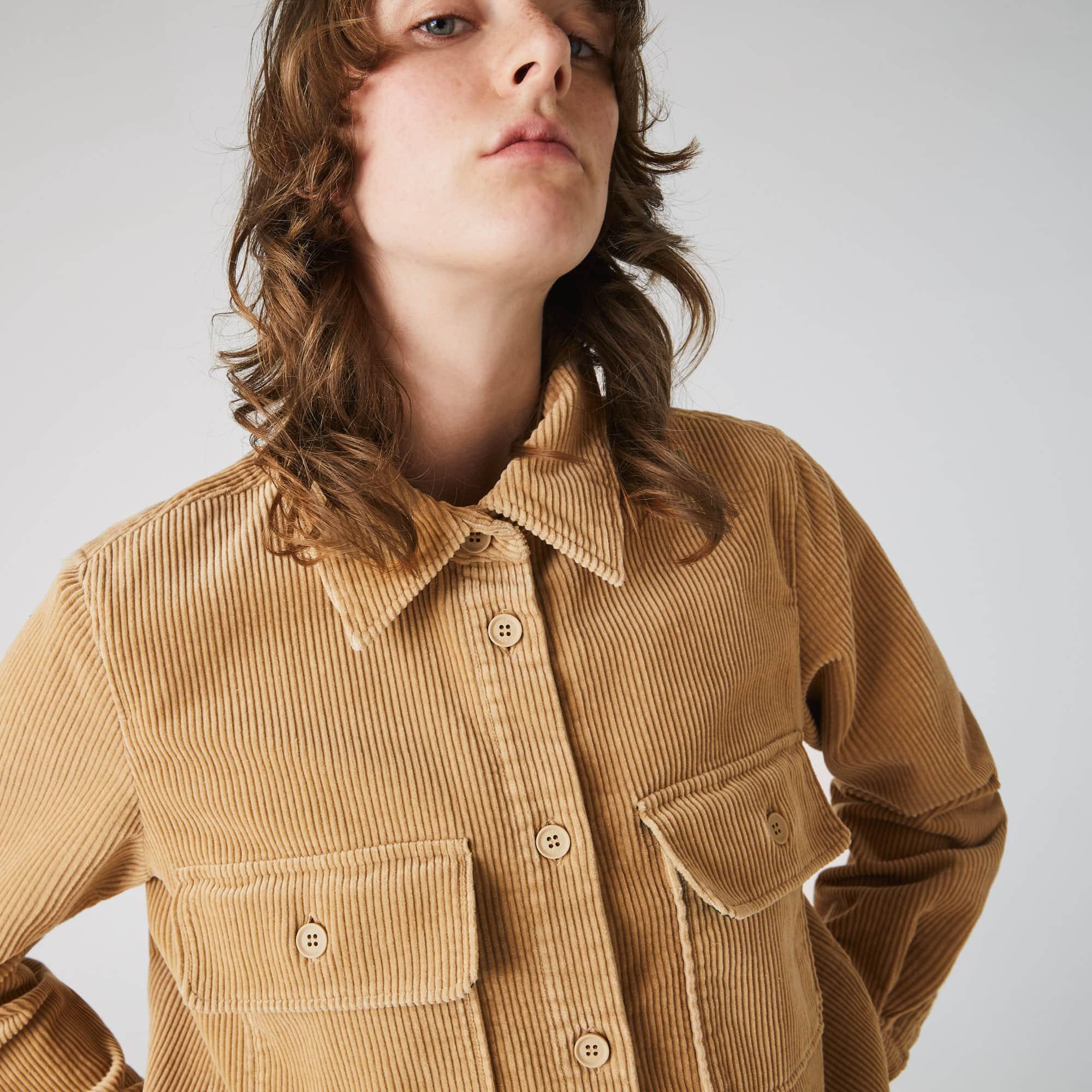 Womens Lacoste LIVE Pockets Ribbed Velvet Shirt
