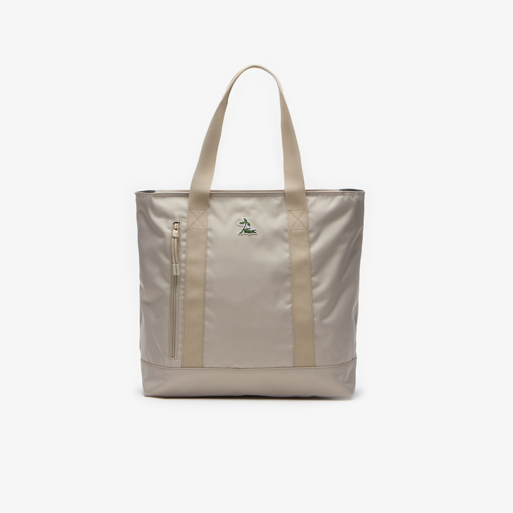라코스테 네오크록 캔버스 토트백 Lacoste Mens Neocroc Vertical Canvas Tote Bag,FEATHER GRAY