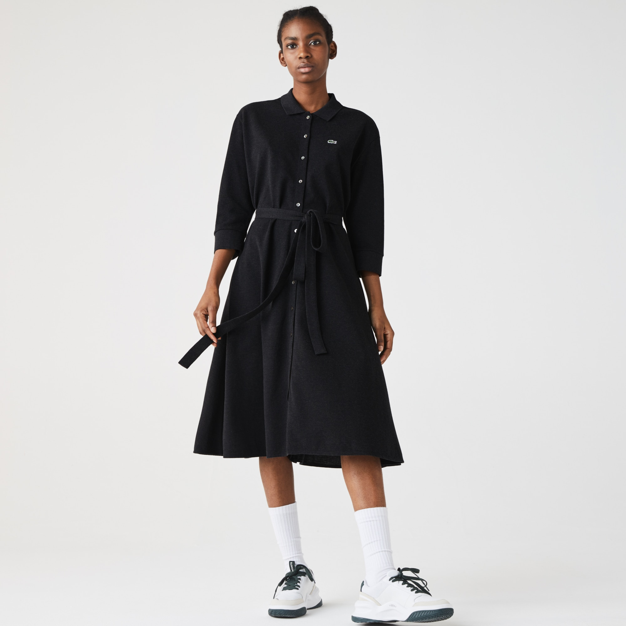 Lacoste Womens Buttoned Belted Cotton Pique Polo Dress