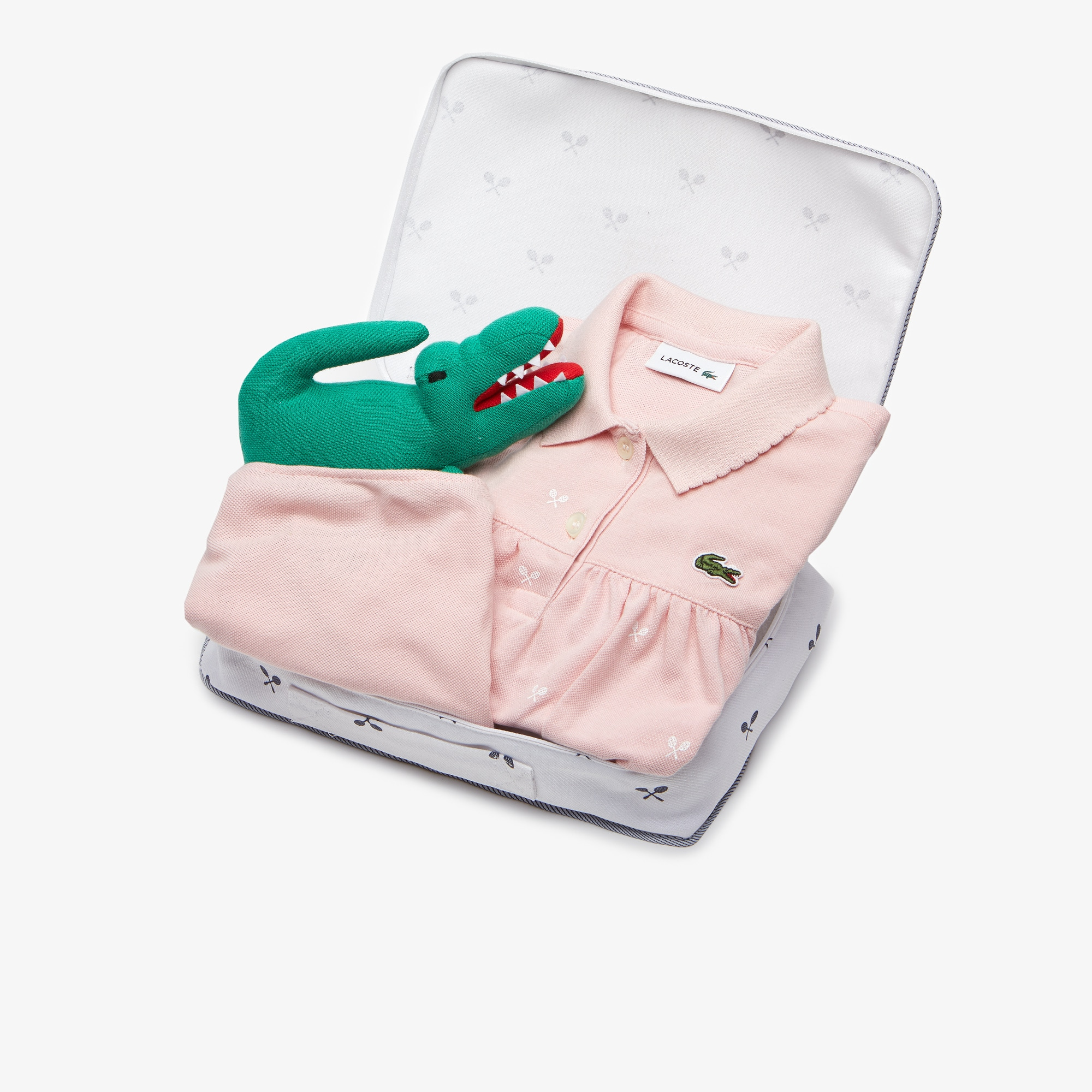 Girls' Polo Dress, Bloomers And Croc Plush Toy Baby Gift Set