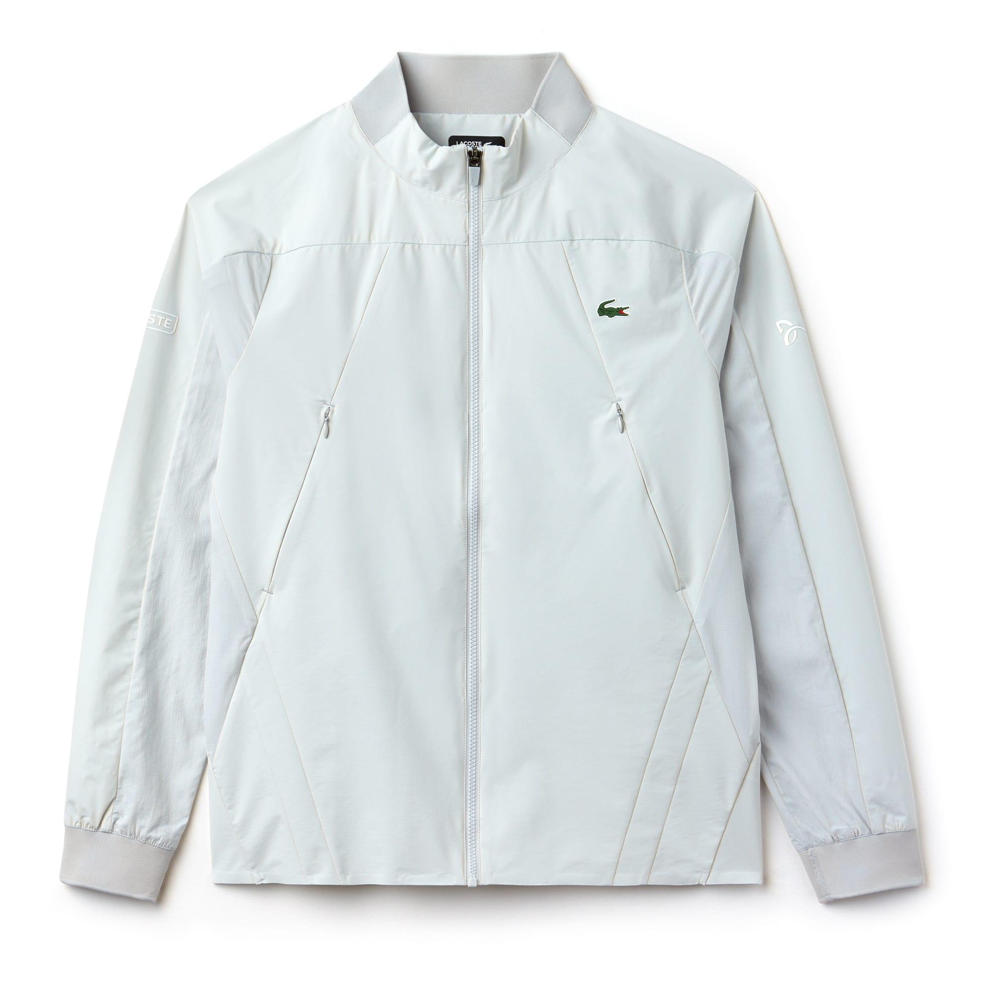 라코스테 Lacoste Mens SPORT Stand-Up Collar Taffeta Jacket - x Novak Djokovic Support With Style - Off Court Collection,armour/armour-white