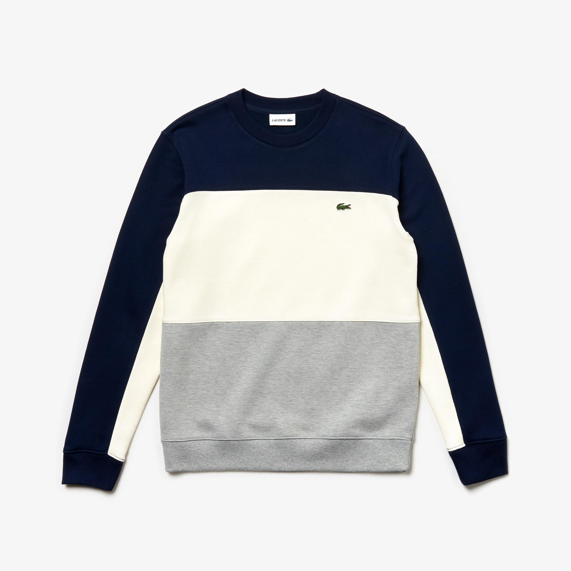 라코스테 Lacoste Mens Crew Neck Colorblock Pique Fleece Sweatshirt,grey chine / white / navy blue