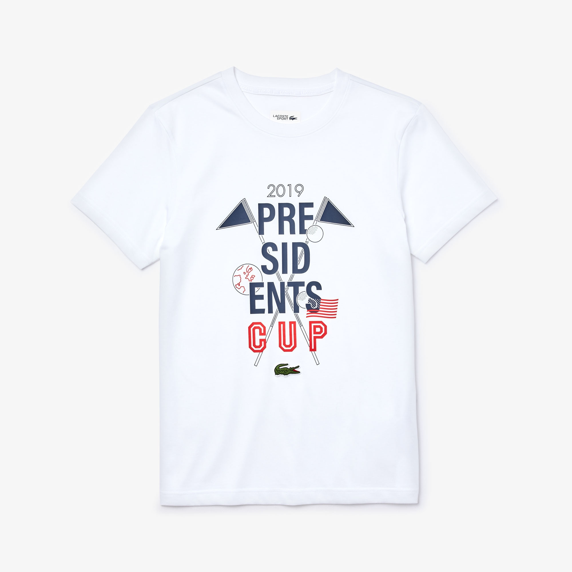 Lacoste Tops Men's Presidents Cup Breathable Printed Cotton Blend Golf T-Shirt