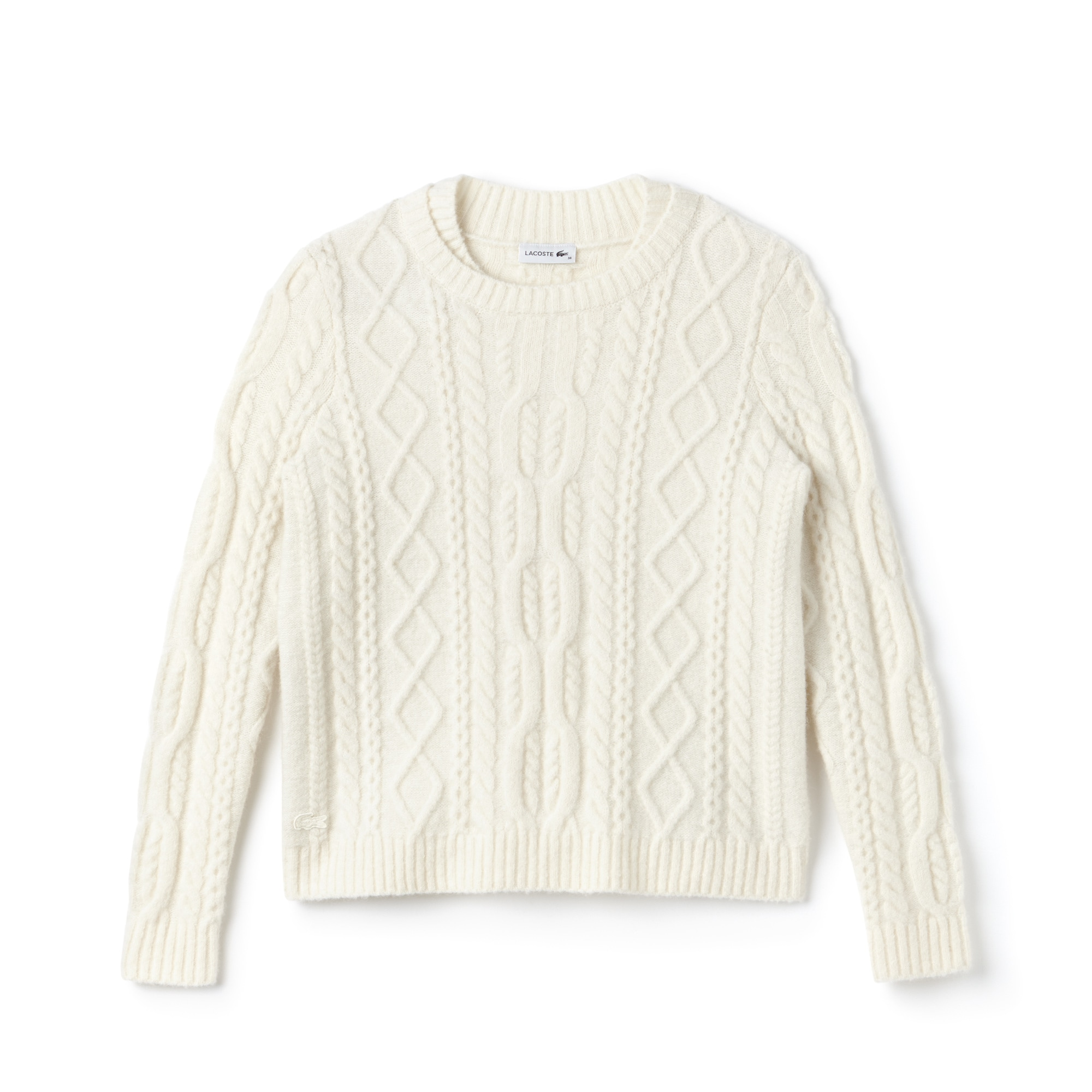 Lacoste WOMEN'S DOUBLE NECK ALPAGA AND WOOL CABLE KNIT SWEATER