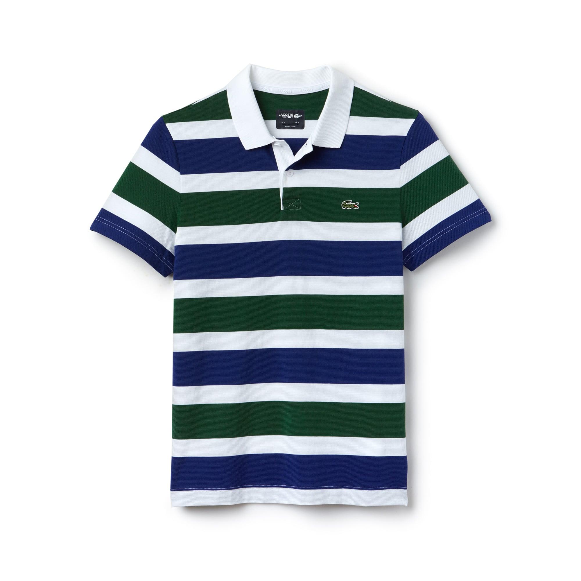 라코스테 Lacoste Mens SPORT Tennis Ultra-Light Striped Knit Polo,White / Navy Blue / Green