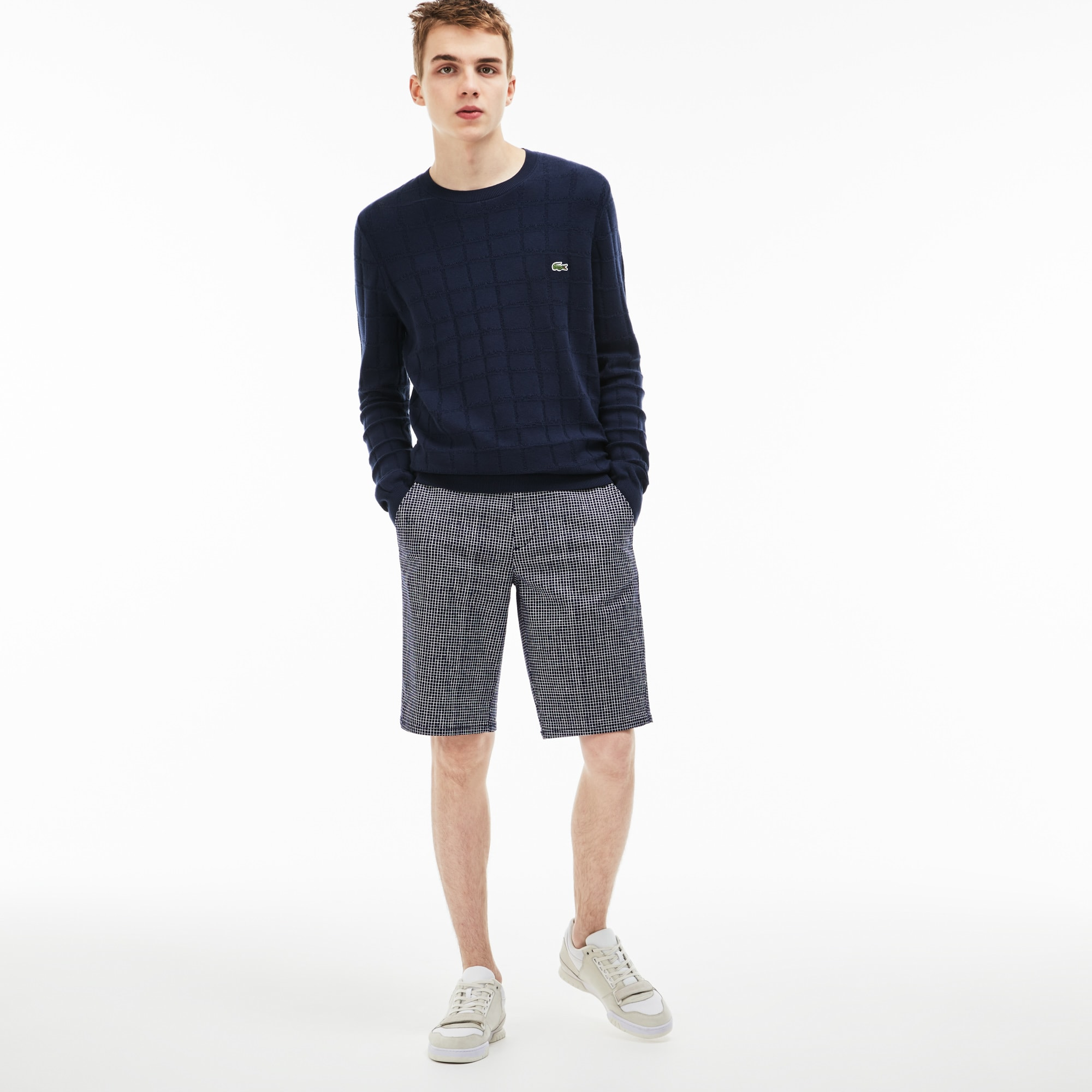 Men's Lacoste LIVE Mini Check Stretch Cotton Twill Bermuda Shorts