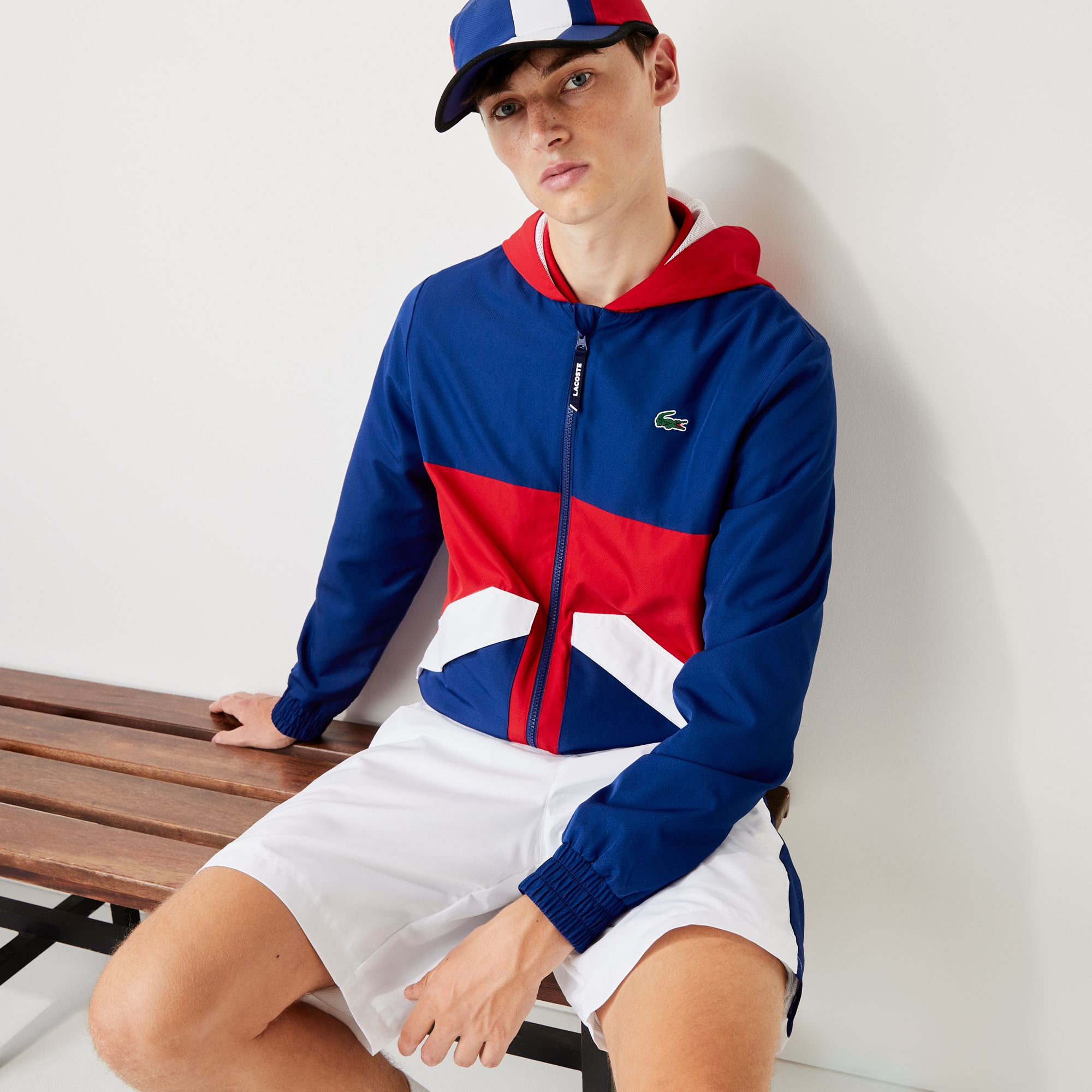 라코스테 스포츠 후드티 Mens Lacoste SPORT Hooded Water-Resistant Colourblock Jacket