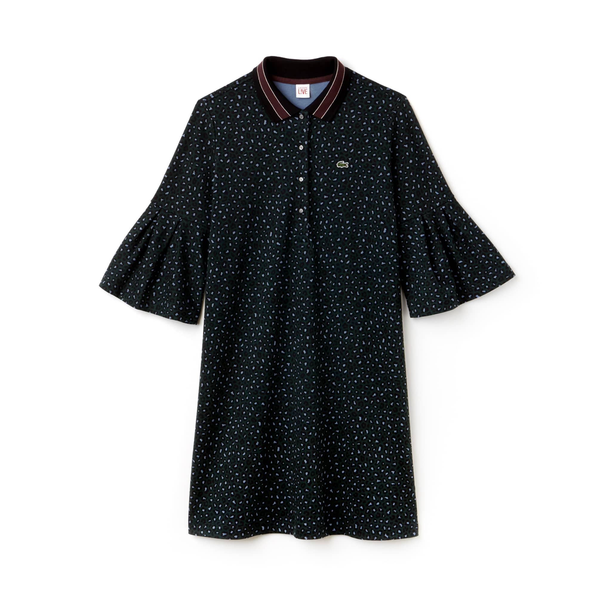 라코스테 라이브 레오파드 프린트 피케 원피스 Lacoste Womens LIVE Leopard Print Interlock Polo Dress,SINOPLE/MULTICO