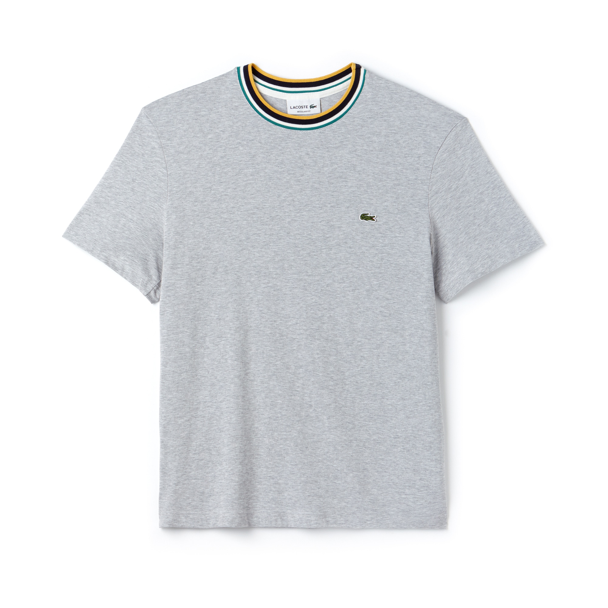 라코스테 Lacoste Mens Striped Ribbed Crew Neck Cotton Jersey T-shirt,grey chine