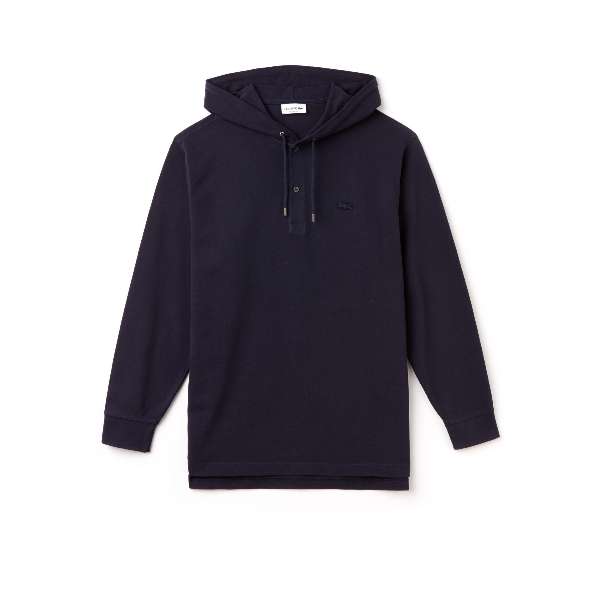 Men's Relaxed Fit Piqué Hooded T-Shirt